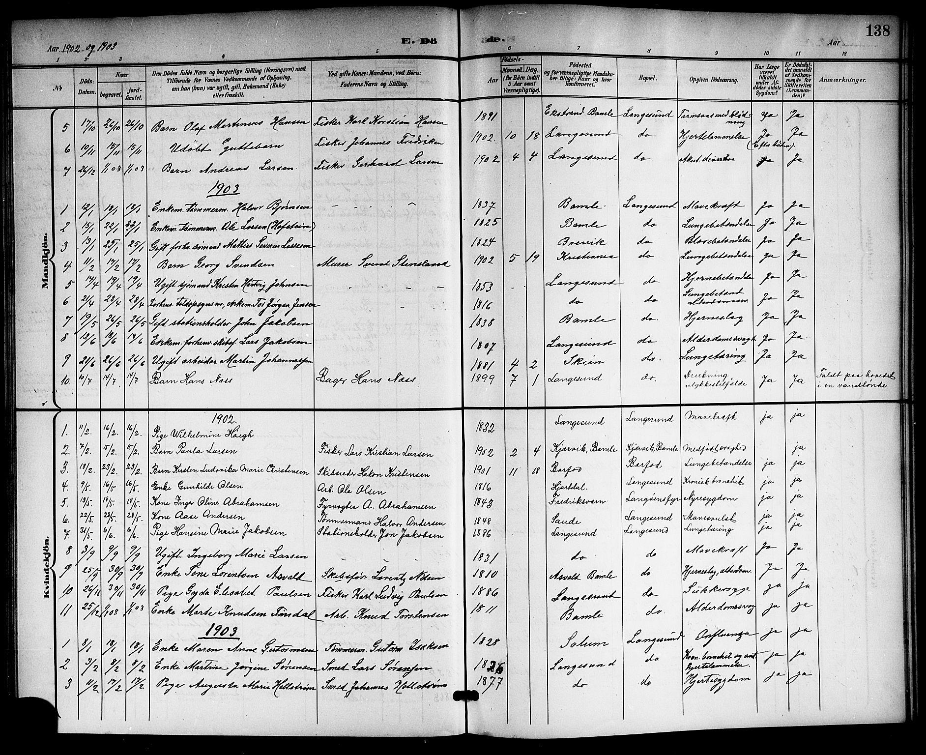 SAKO, Langesund kirkebøker, G/Ga/L0006: Klokkerbok nr. 6, 1899-1918, s. 138