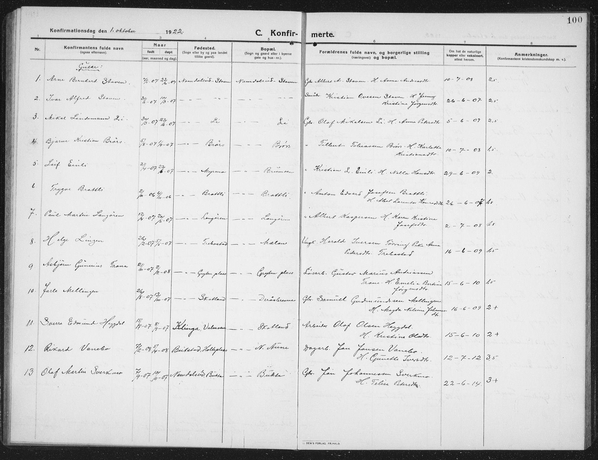 SAT, Ministerialprotokoller, klokkerbøker og fødselsregistre - Nord-Trøndelag, 742/L0413: Klokkerbok nr. 742C04, 1911-1938, s. 100