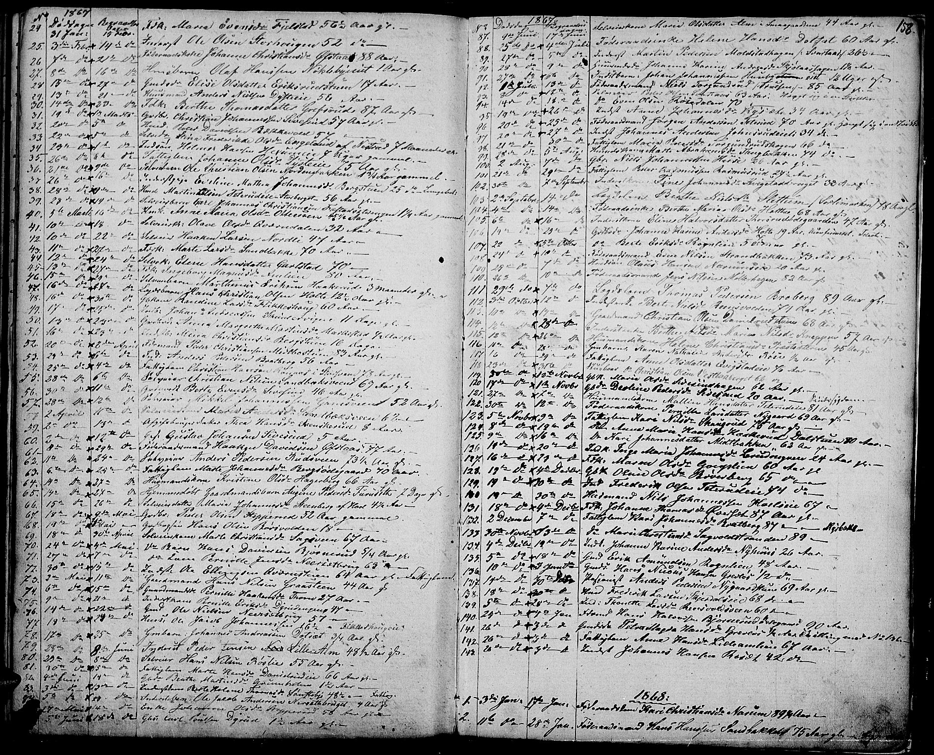 SAH, Vestre Toten prestekontor, H/Ha/Hab/L0005: Klokkerbok nr. 5, 1854-1870, s. 158