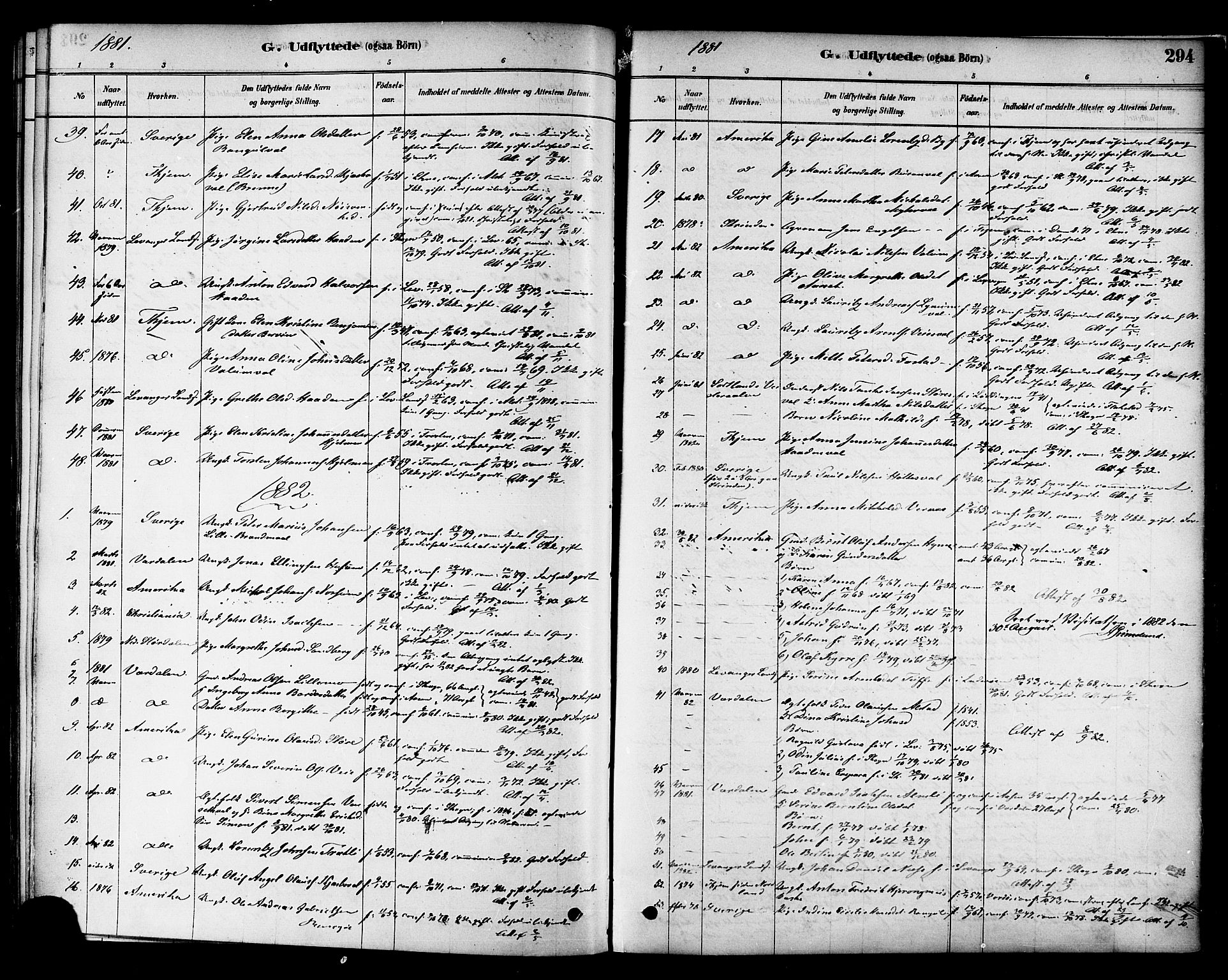 SAT, Ministerialprotokoller, klokkerbøker og fødselsregistre - Nord-Trøndelag, 717/L0159: Ministerialbok nr. 717A09, 1878-1898, s. 294