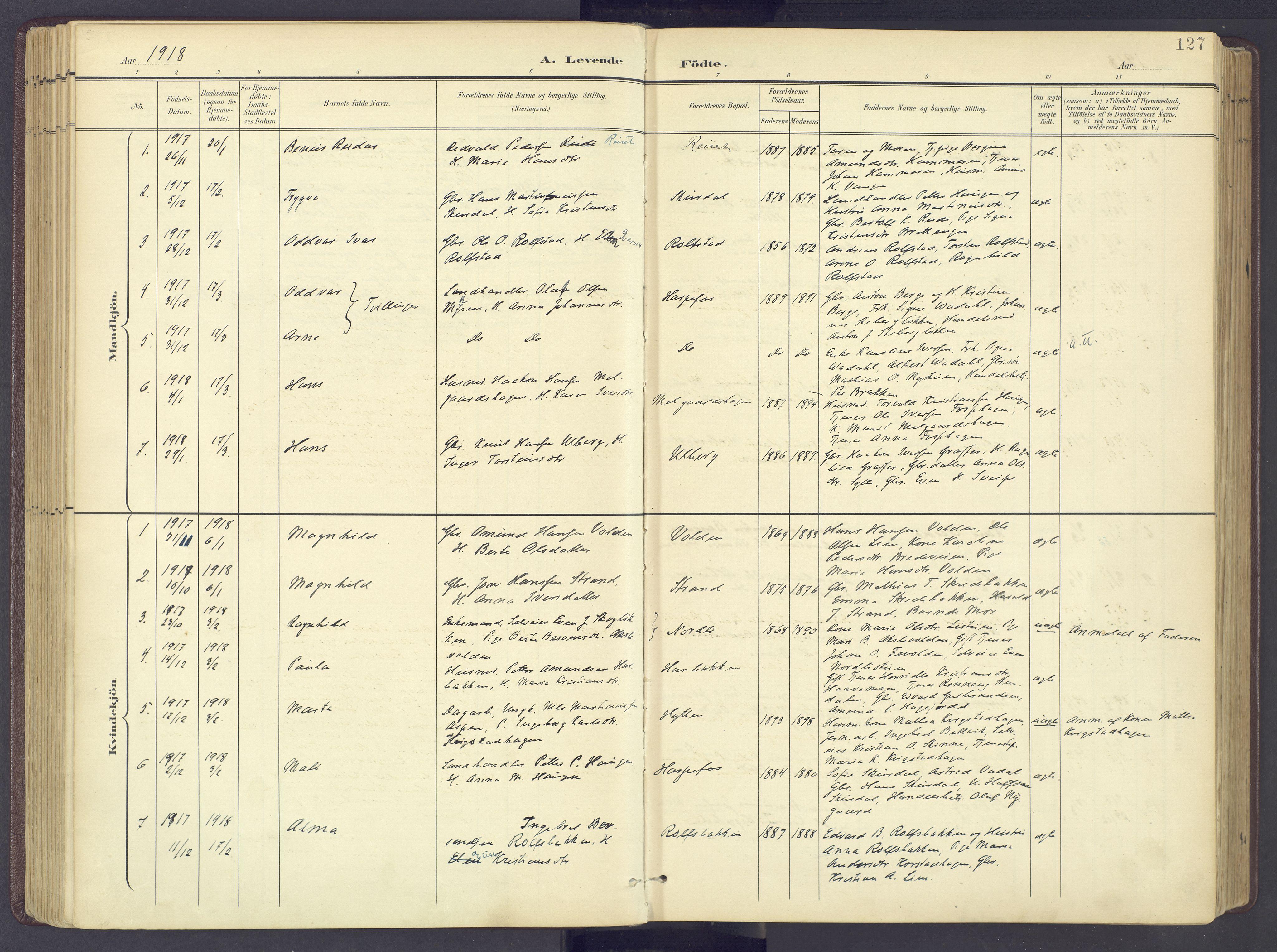 SAH, Sør-Fron prestekontor, H/Ha/Haa/L0004: Ministerialbok nr. 4, 1898-1919, s. 127