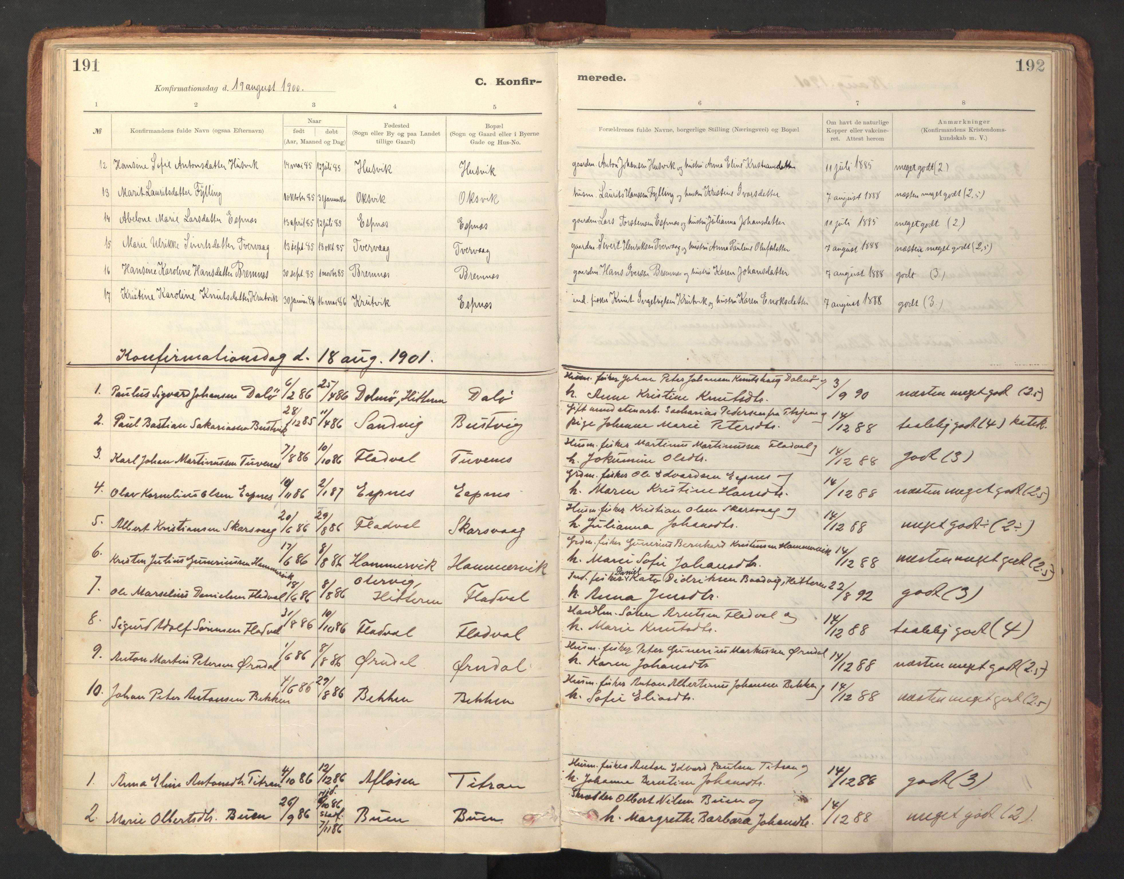 SAT, Ministerialprotokoller, klokkerbøker og fødselsregistre - Sør-Trøndelag, 641/L0596: Ministerialbok nr. 641A02, 1898-1915, s. 191-192