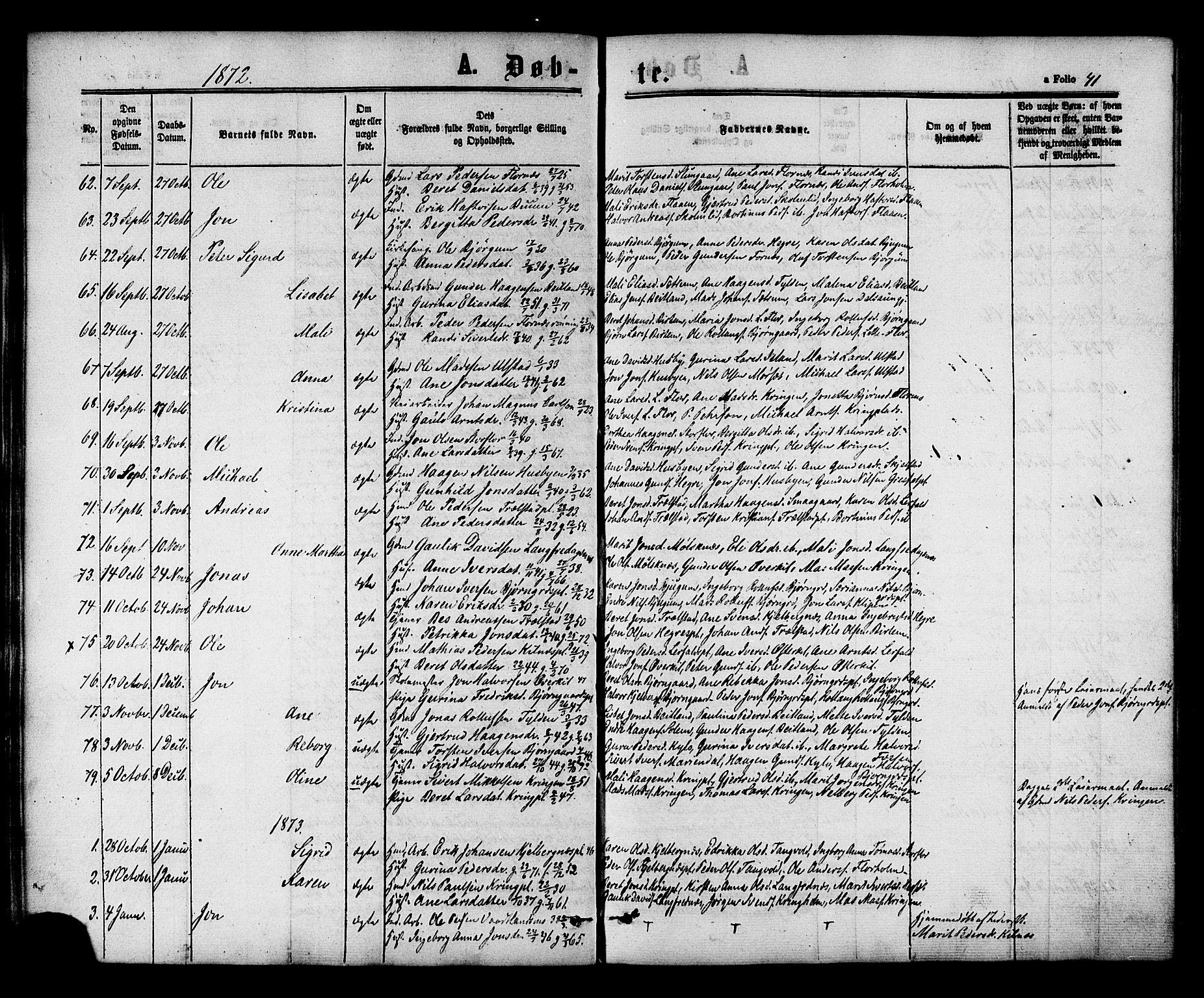 SAT, Ministerialprotokoller, klokkerbøker og fødselsregistre - Nord-Trøndelag, 703/L0029: Ministerialbok nr. 703A02, 1863-1879, s. 41