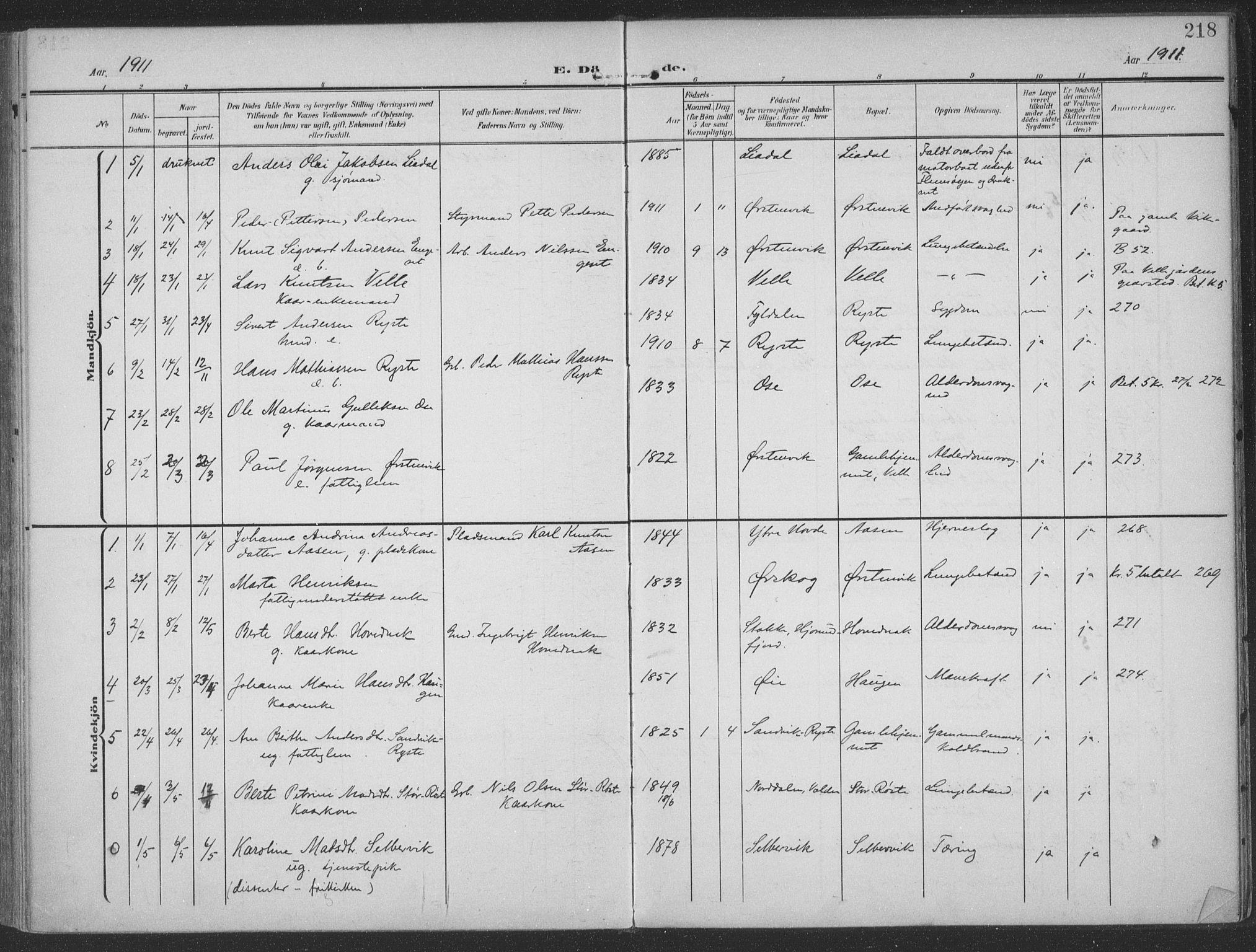 SAT, Ministerialprotokoller, klokkerbøker og fødselsregistre - Møre og Romsdal, 513/L0178: Ministerialbok nr. 513A05, 1906-1919, s. 218