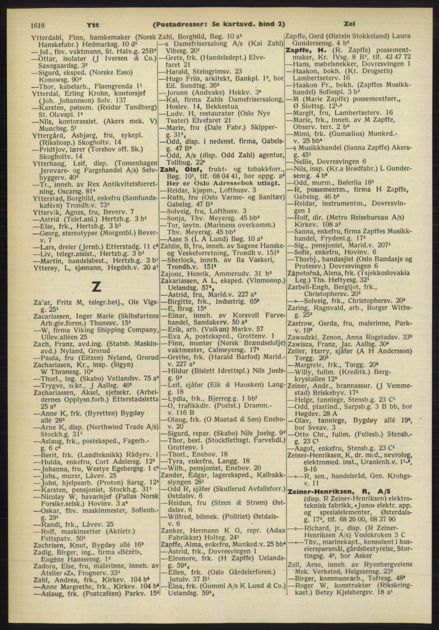 RA, Oslo adressebok (publikasjon)*, 1960-1961, s. 1618