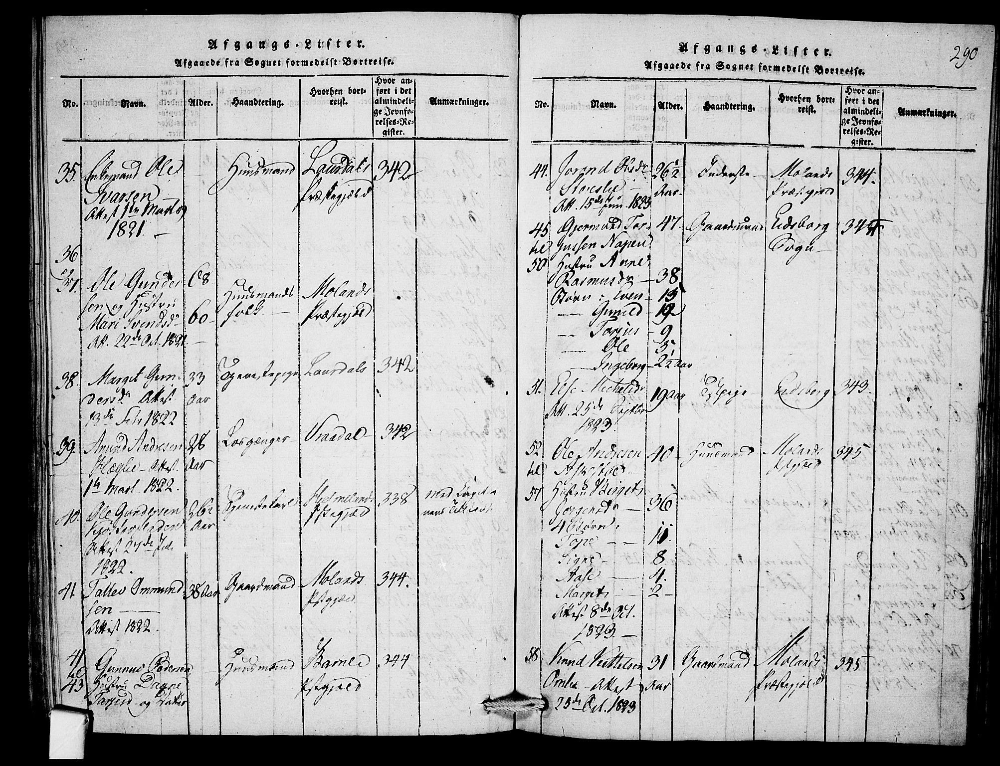SAKO, Mo kirkebøker, F/Fb/L0001: Ministerialbok nr. II 1, 1814-1844, s. 290