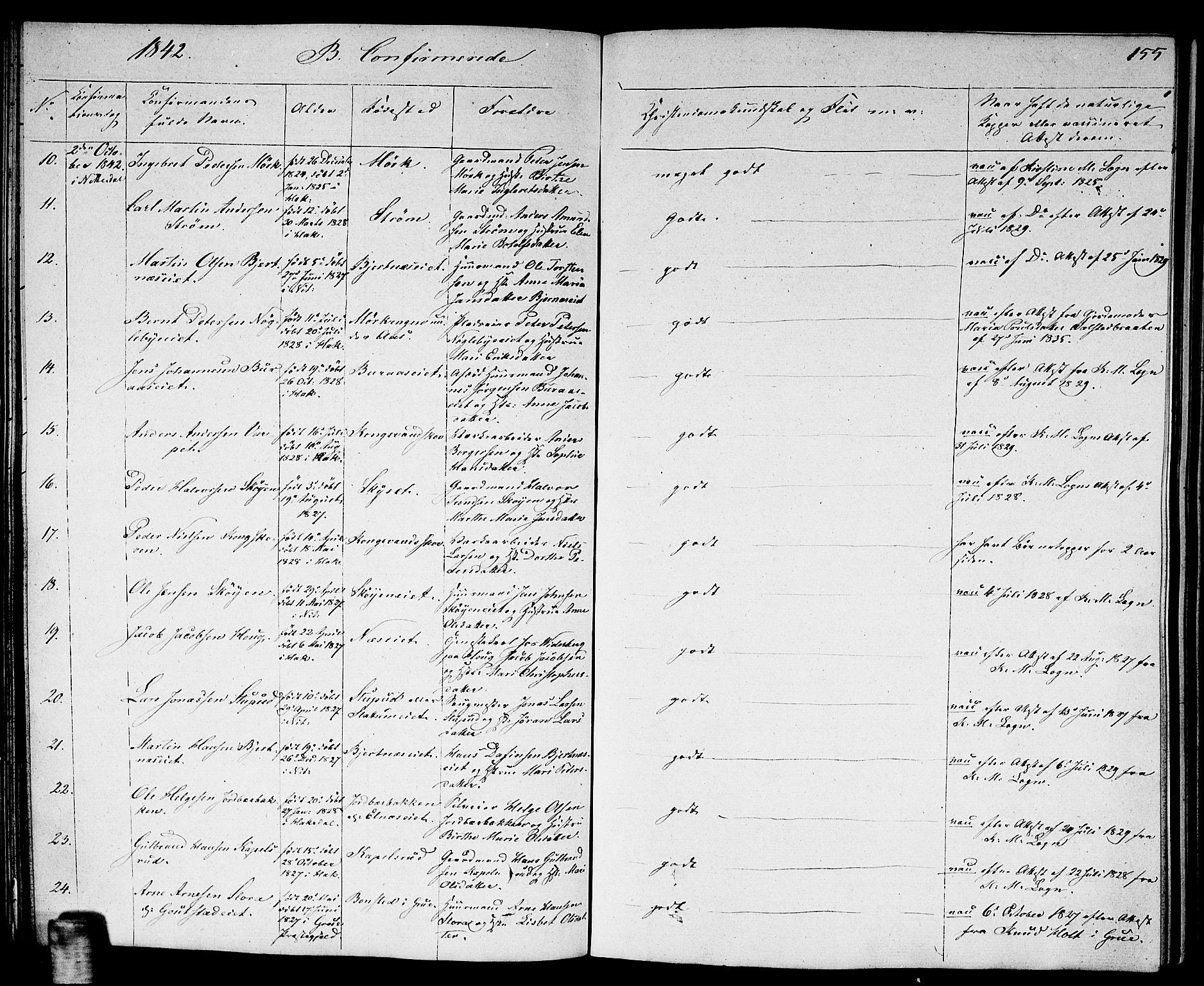 SAO, Nittedal prestekontor Kirkebøker, F/Fa/L0004: Ministerialbok nr. I 4, 1836-1849, s. 155