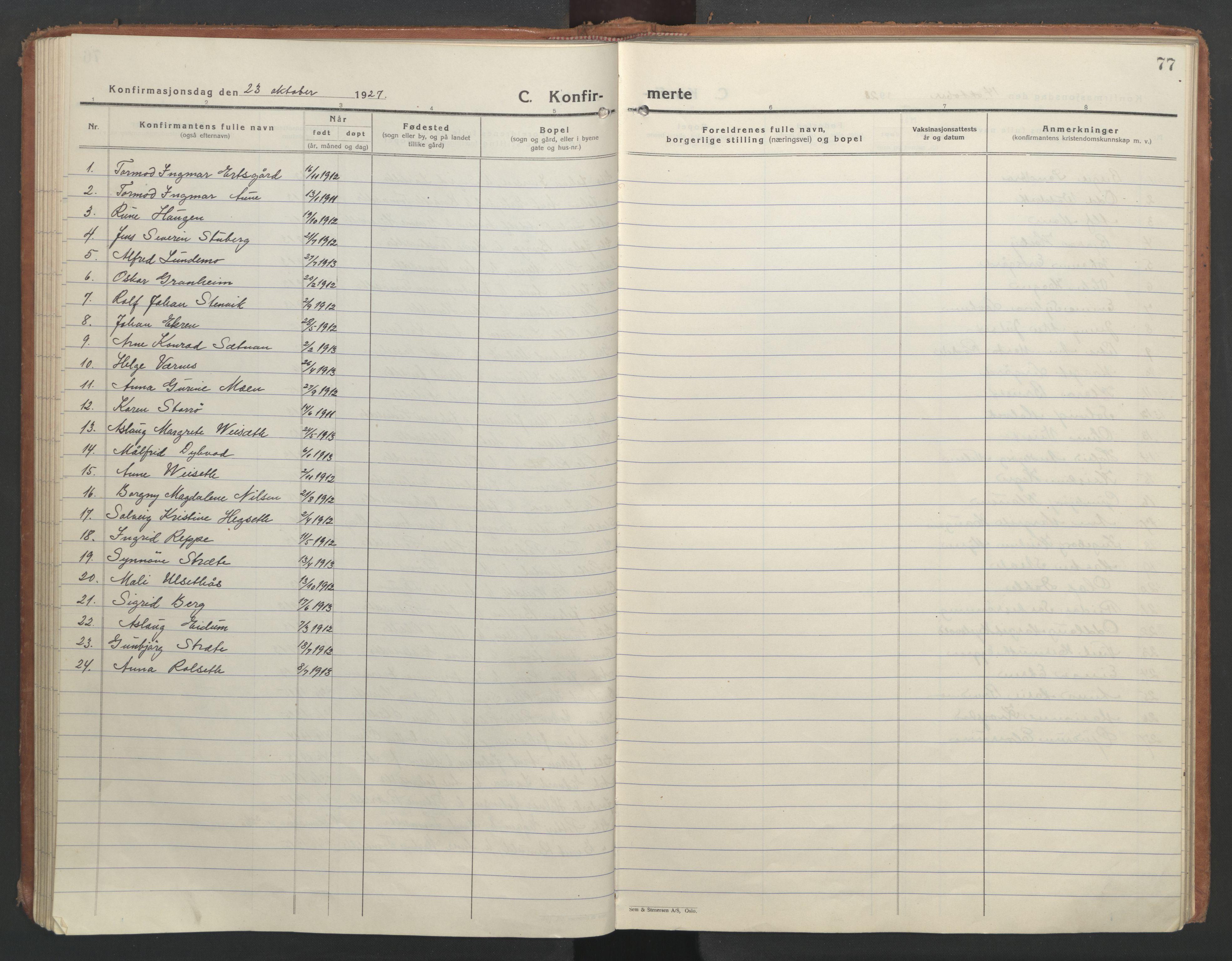 SAT, Ministerialprotokoller, klokkerbøker og fødselsregistre - Nord-Trøndelag, 710/L0097: Klokkerbok nr. 710C02, 1925-1955, s. 77