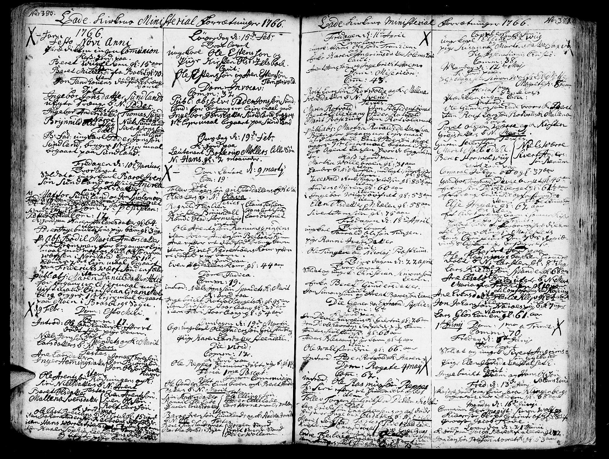 SAT, Ministerialprotokoller, klokkerbøker og fødselsregistre - Sør-Trøndelag, 606/L0275: Ministerialbok nr. 606A01 /1, 1727-1780, s. 380-381