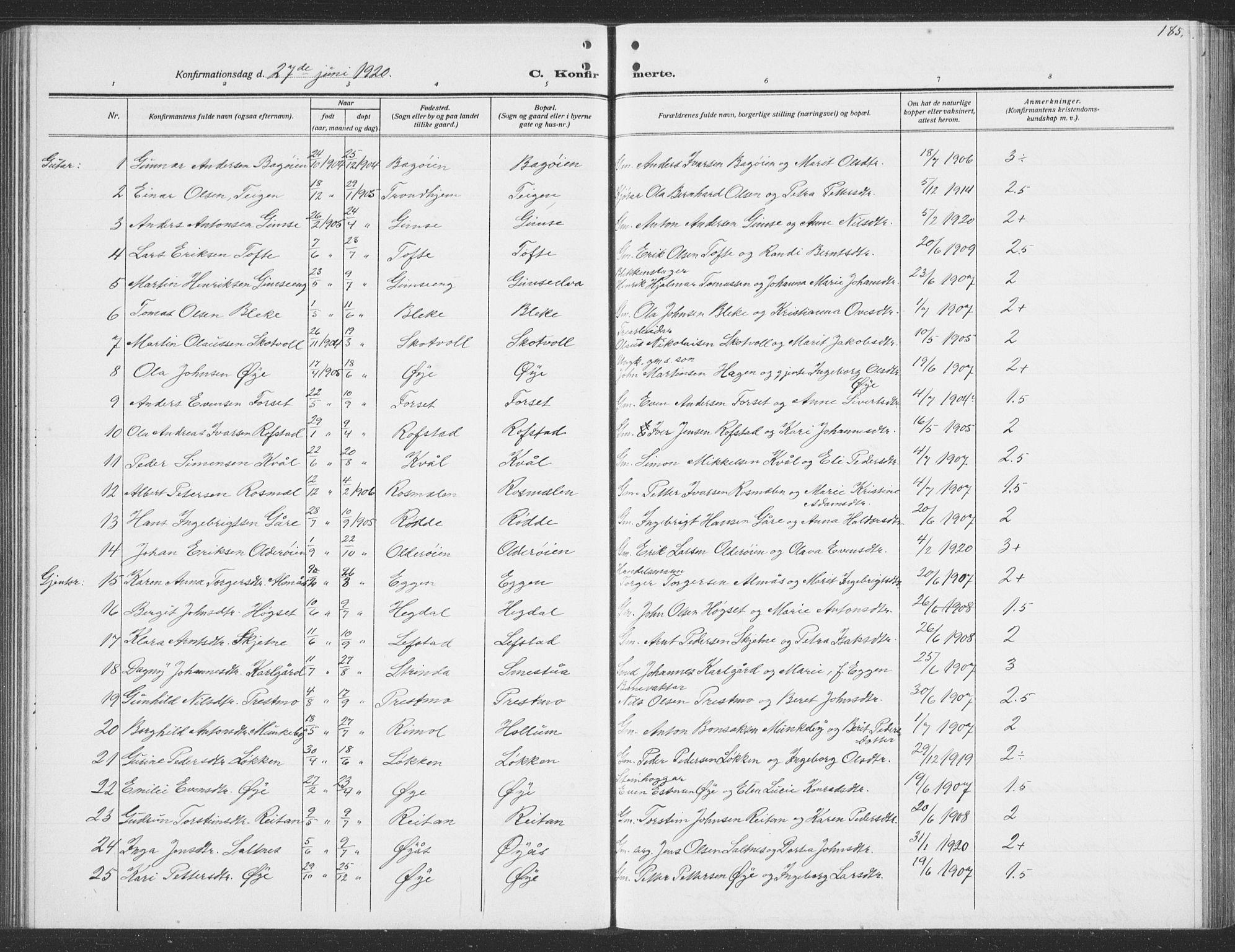SAT, Ministerialprotokoller, klokkerbøker og fødselsregistre - Sør-Trøndelag, 691/L1095: Klokkerbok nr. 691C06, 1912-1933, s. 185
