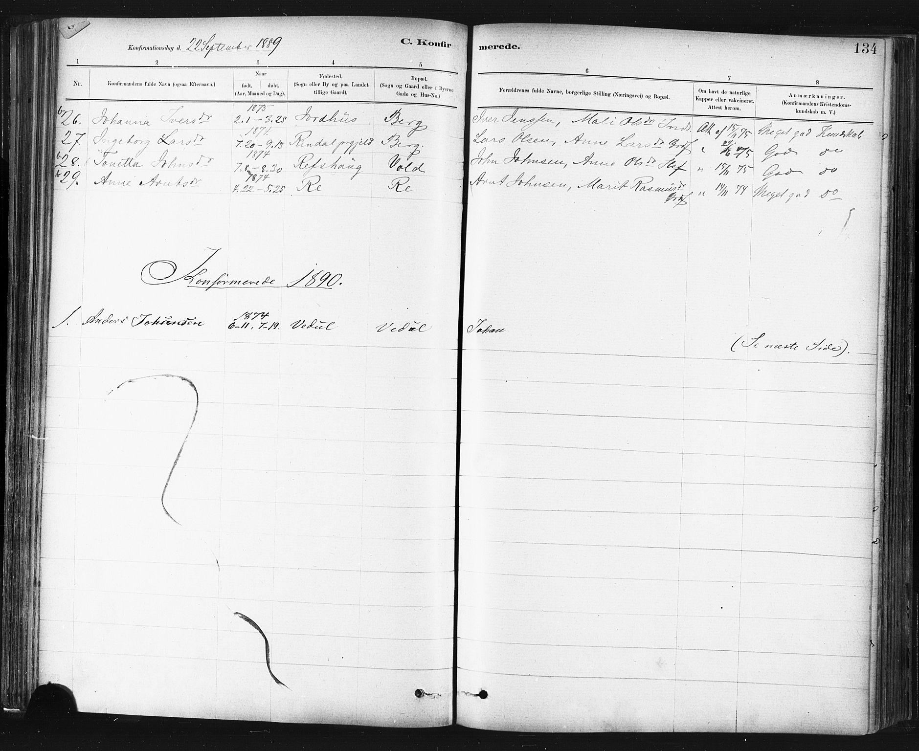SAT, Ministerialprotokoller, klokkerbøker og fødselsregistre - Sør-Trøndelag, 672/L0857: Ministerialbok nr. 672A09, 1882-1893, s. 134