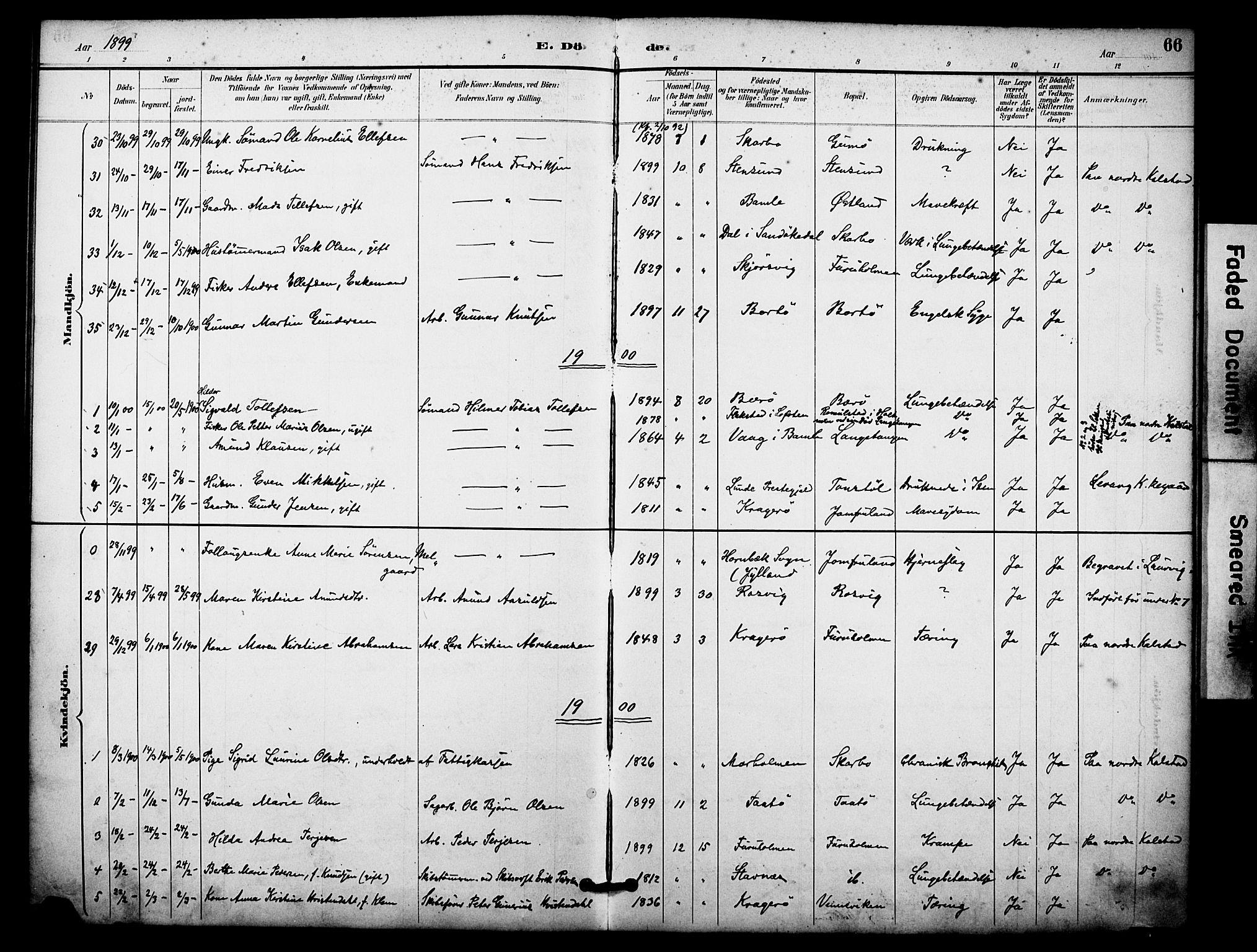 SAKO, Skåtøy kirkebøker, F/Fa/L0004: Ministerialbok nr. I 4, 1884-1900, s. 66