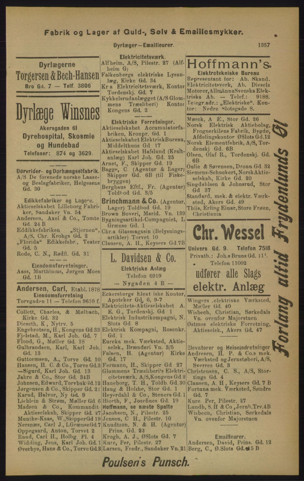 RA, Kristiania adressebok (publikasjon)*, 1905, s. 1357