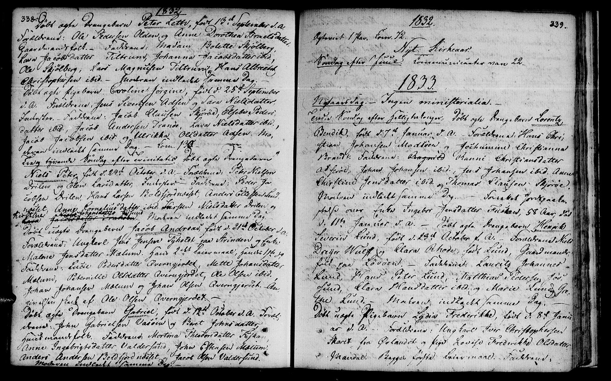 SAT, Ministerialprotokoller, klokkerbøker og fødselsregistre - Sør-Trøndelag, 655/L0674: Ministerialbok nr. 655A03, 1802-1826, s. 338-339