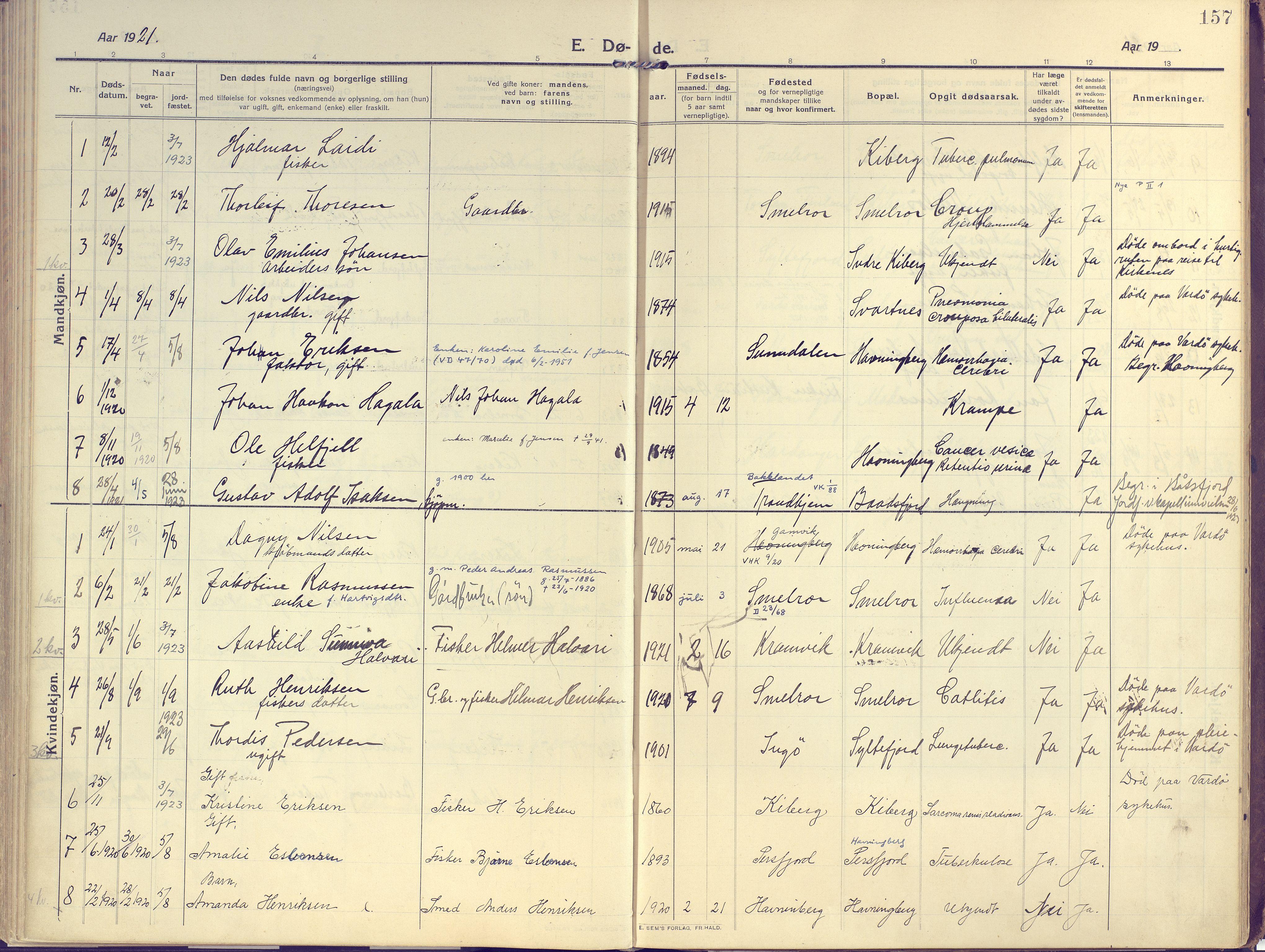 SATØ, Vardø sokneprestkontor, H/Ha/L0013kirke: Ministerialbok nr. 13, 1912-1928, s. 157