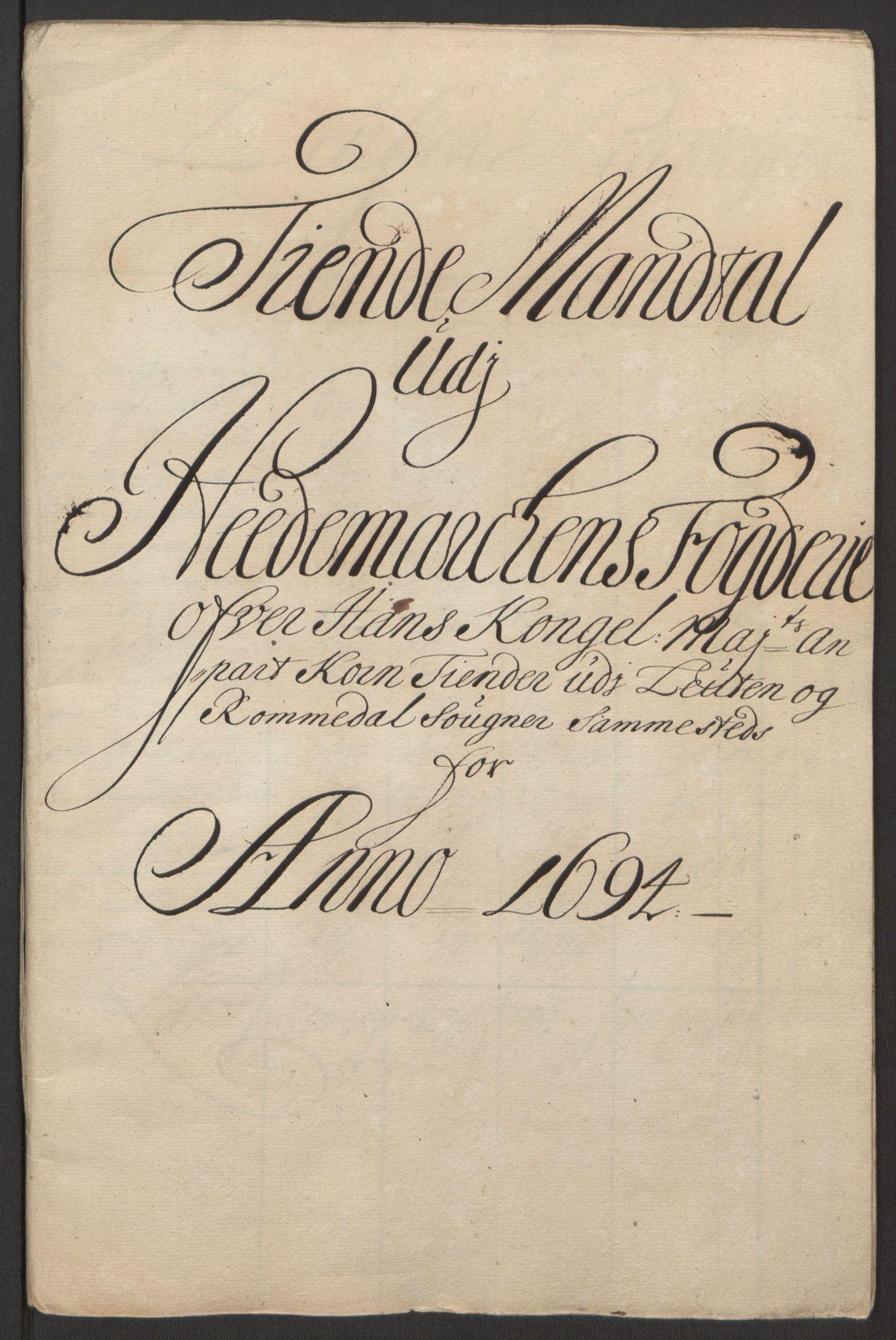 RA, Rentekammeret inntil 1814, Reviderte regnskaper, Fogderegnskap, R16/L1035: Fogderegnskap Hedmark, 1694, s. 48