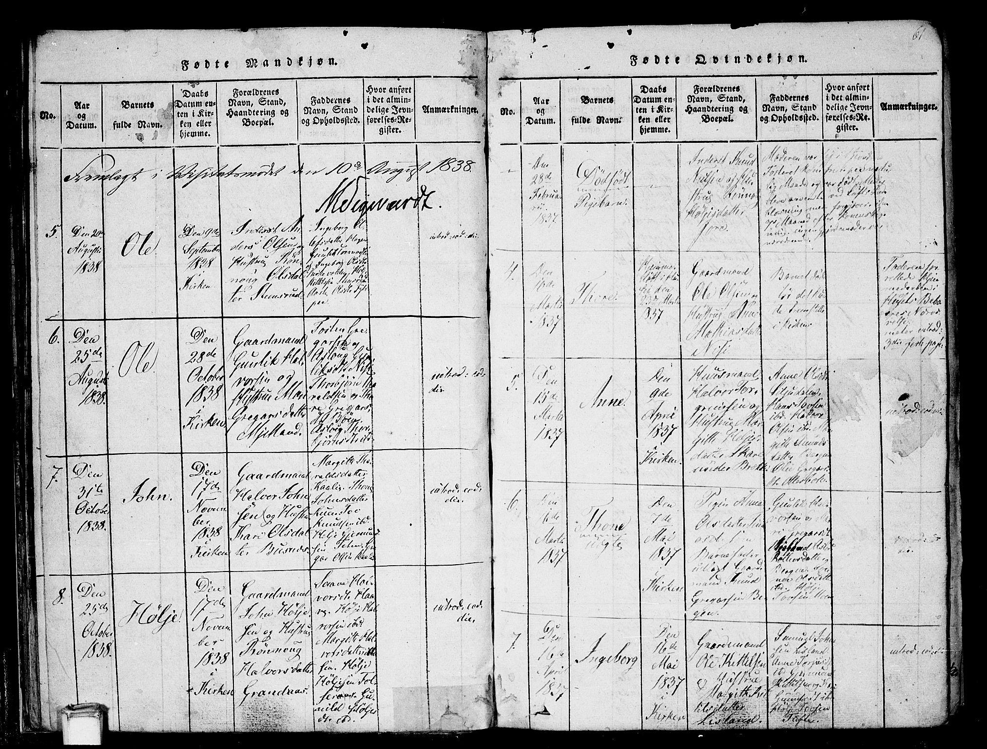 SAKO, Gransherad kirkebøker, F/Fa/L0001: Ministerialbok nr. I 1, 1815-1843, s. 61