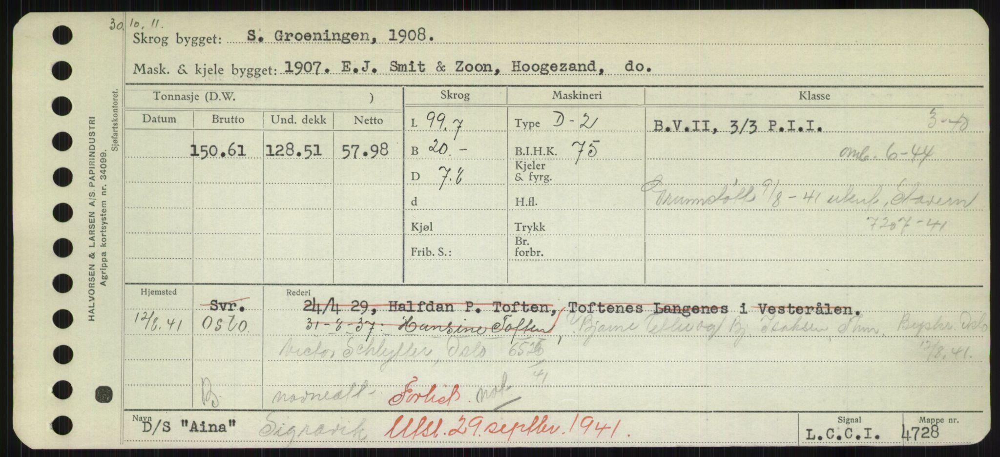 RA, Sjøfartsdirektoratet med forløpere, Skipsmålingen, H/Hd/L0001: Fartøy, A-Anv, s. 155