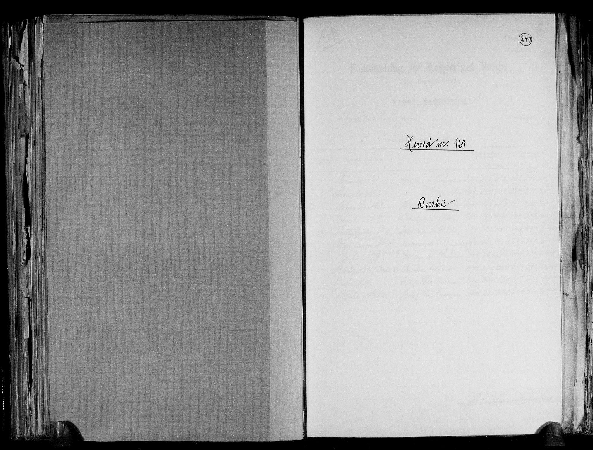 RA, Folketelling 1891 for 0990 Barbu herred, 1891, s. 1
