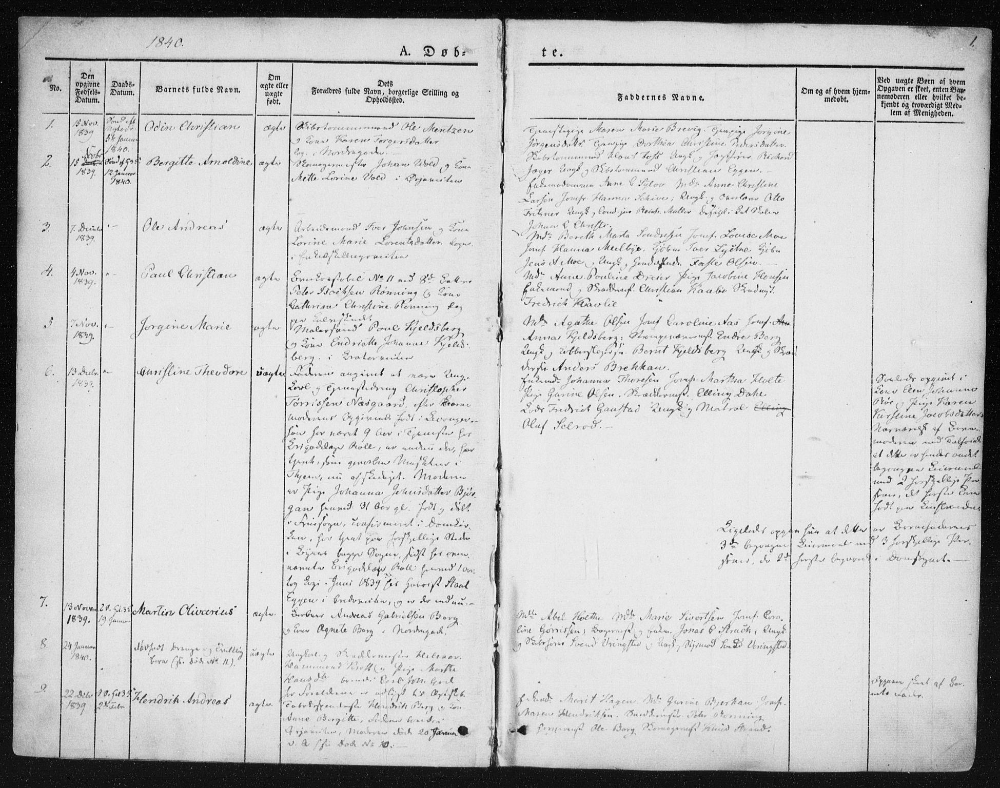 SAT, Ministerialprotokoller, klokkerbøker og fødselsregistre - Sør-Trøndelag, 602/L0110: Ministerialbok nr. 602A08, 1840-1854, s. 1