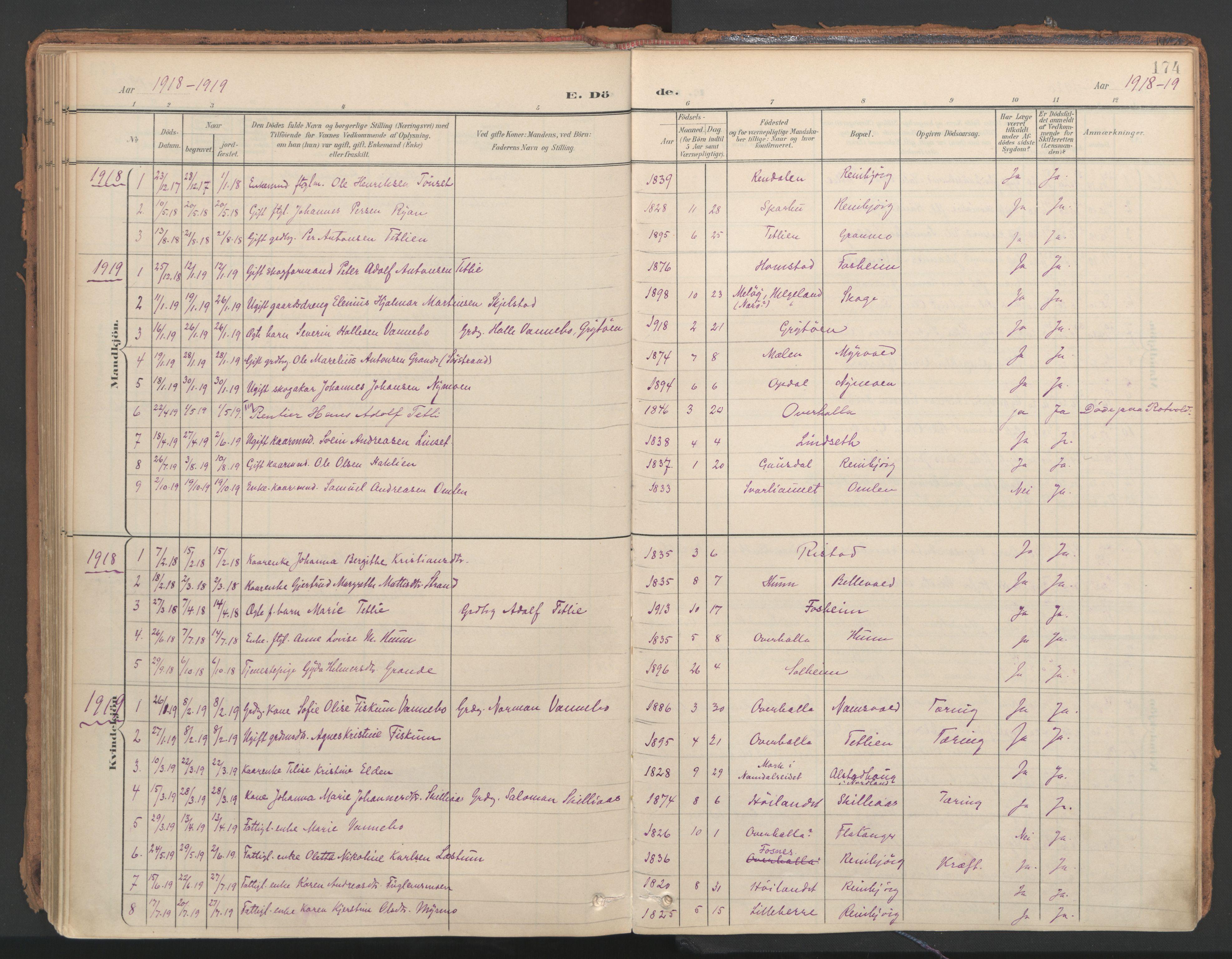 SAT, Ministerialprotokoller, klokkerbøker og fødselsregistre - Nord-Trøndelag, 766/L0564: Ministerialbok nr. 767A02, 1900-1932, s. 174