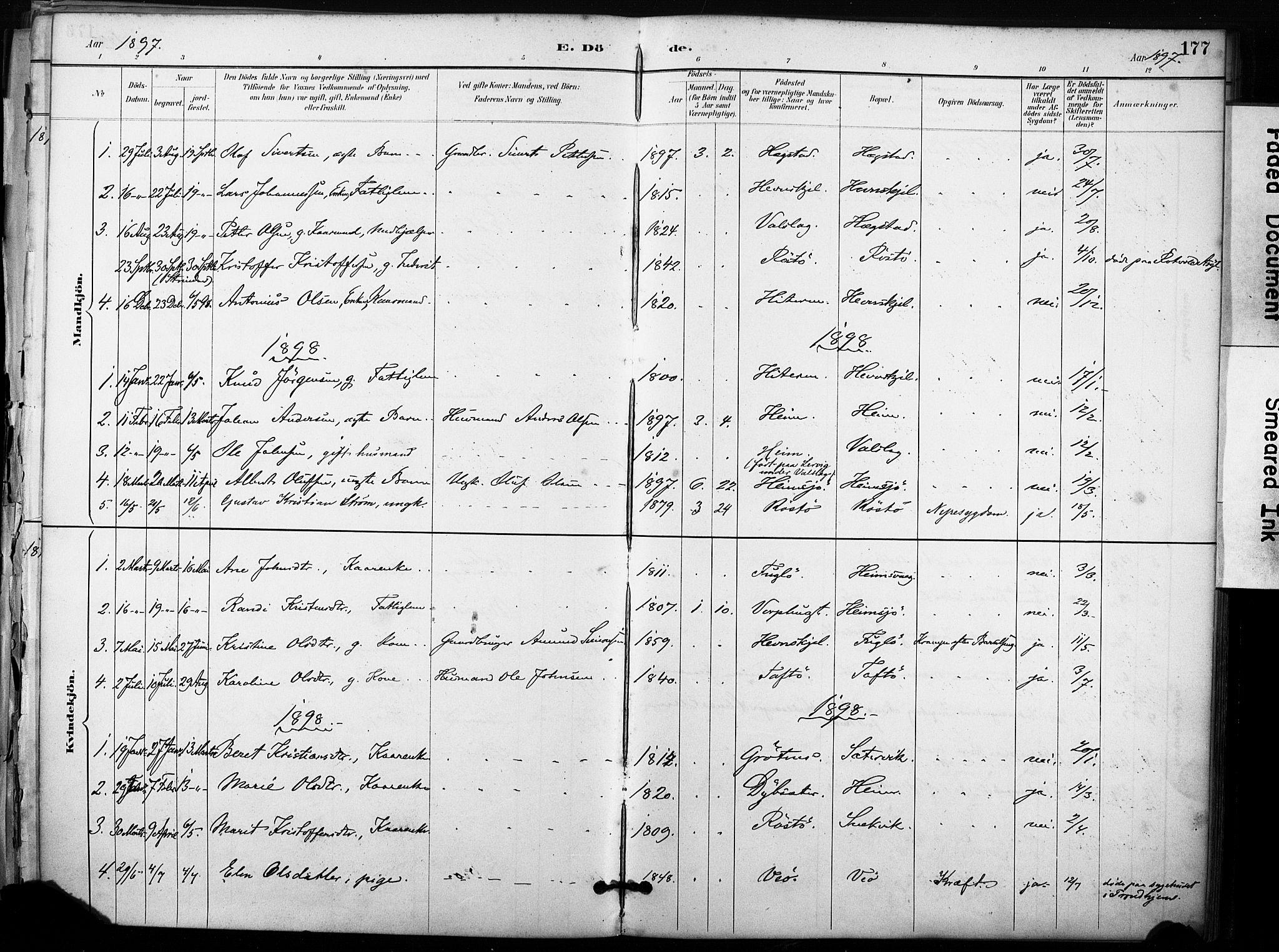 SAT, Ministerialprotokoller, klokkerbøker og fødselsregistre - Sør-Trøndelag, 633/L0518: Ministerialbok nr. 633A01, 1884-1906, s. 177