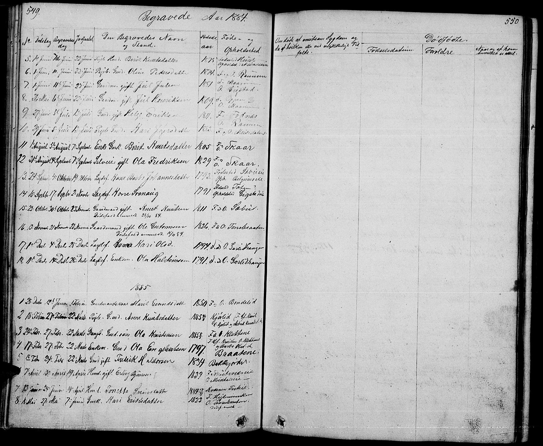 SAH, Nord-Aurdal prestekontor, Klokkerbok nr. 1, 1834-1887, s. 549-550