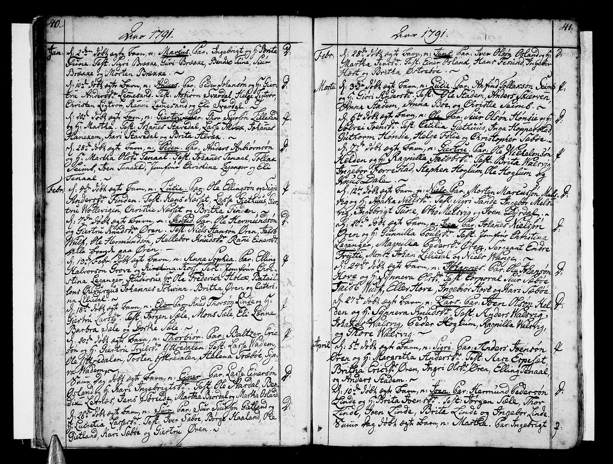 SAB, Vik Sokneprestembete, Ministerialbok nr. A 5, 1787-1820, s. 40-41