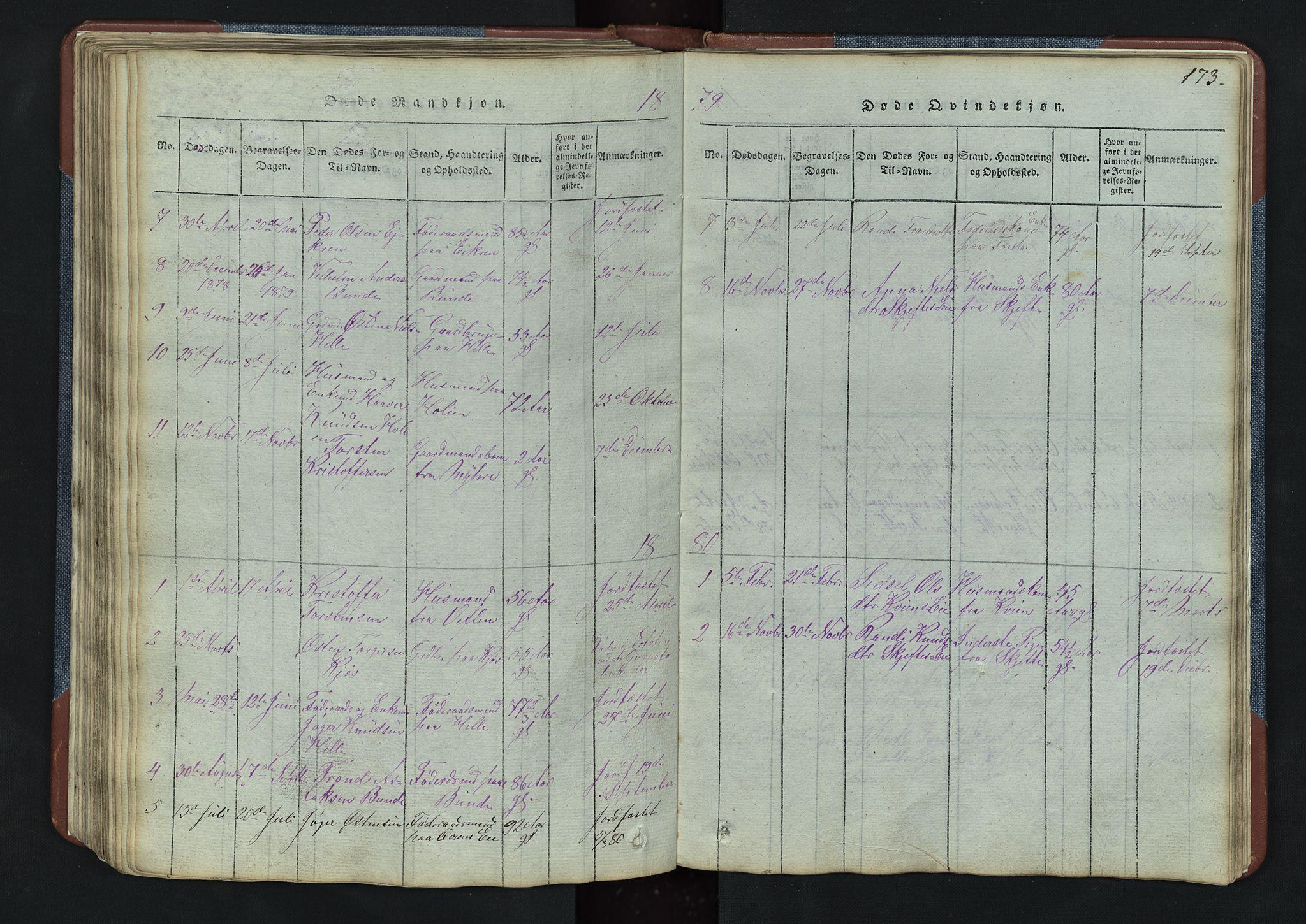 SAH, Vang prestekontor, Valdres, Klokkerbok nr. 3, 1814-1892, s. 173