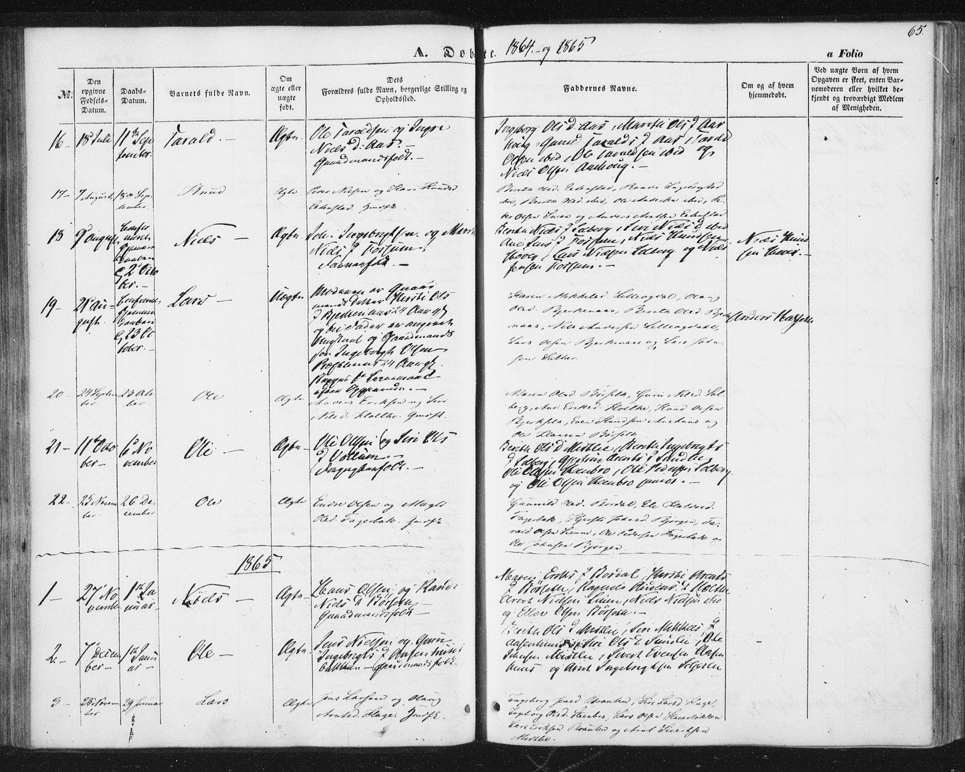 SAT, Ministerialprotokoller, klokkerbøker og fødselsregistre - Sør-Trøndelag, 689/L1038: Ministerialbok nr. 689A03, 1848-1872, s. 65