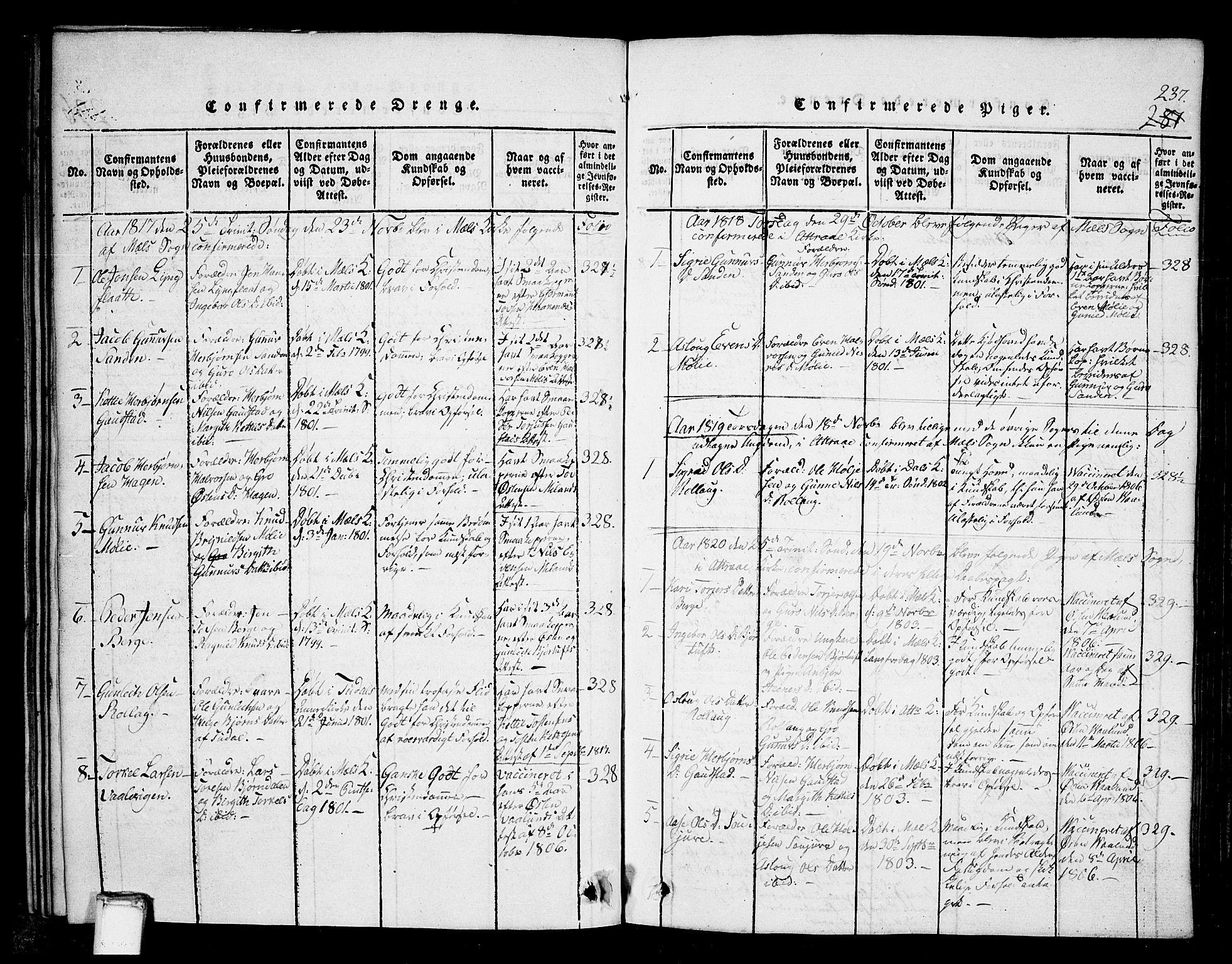 SAKO, Tinn kirkebøker, G/Gb/L0001: Klokkerbok nr. II 1 /1, 1815-1850, s. 237