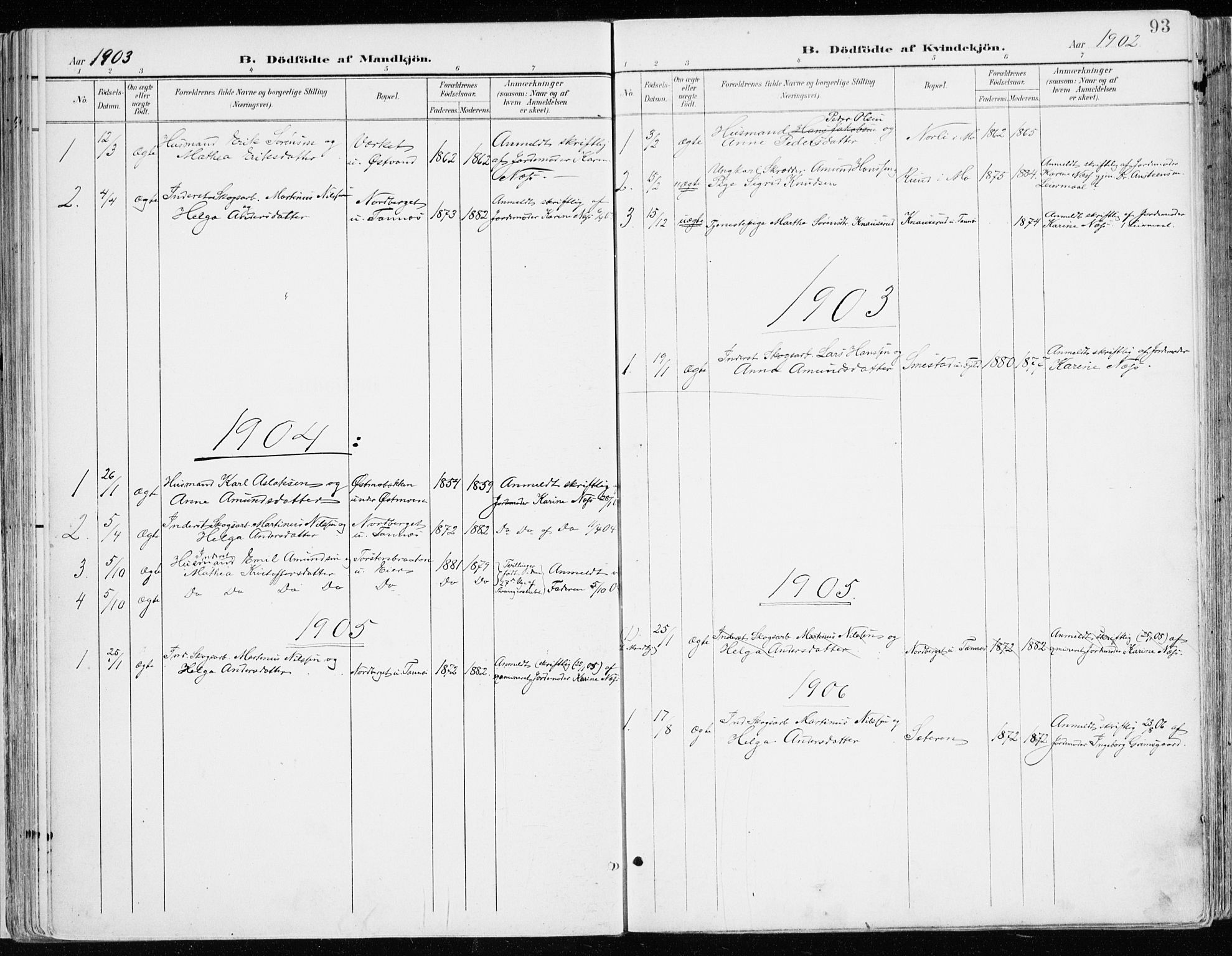 SAH, Nord-Odal prestekontor, Ministerialbok nr. 9, 1902-1926, s. 93