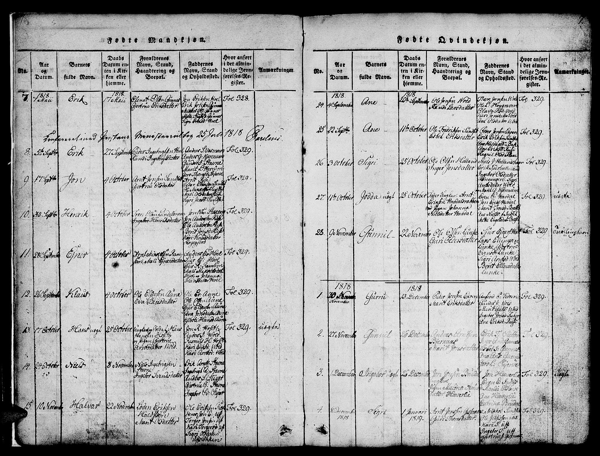 SAT, Ministerialprotokoller, klokkerbøker og fødselsregistre - Sør-Trøndelag, 674/L0874: Klokkerbok nr. 674C01, 1816-1860, s. 7
