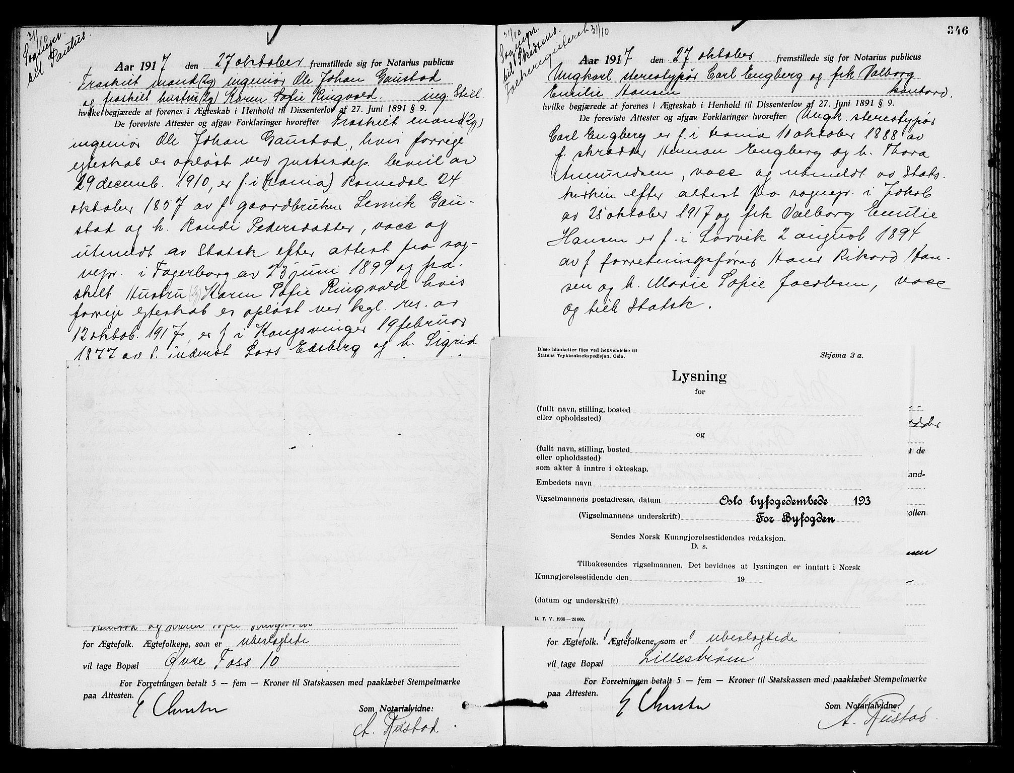SAO, Oslo byfogd avd. I, L/Lb/Lbb/L0011: Notarialprotokoll, rekke II: Vigsler, 1916-1918, s. 345b-346a
