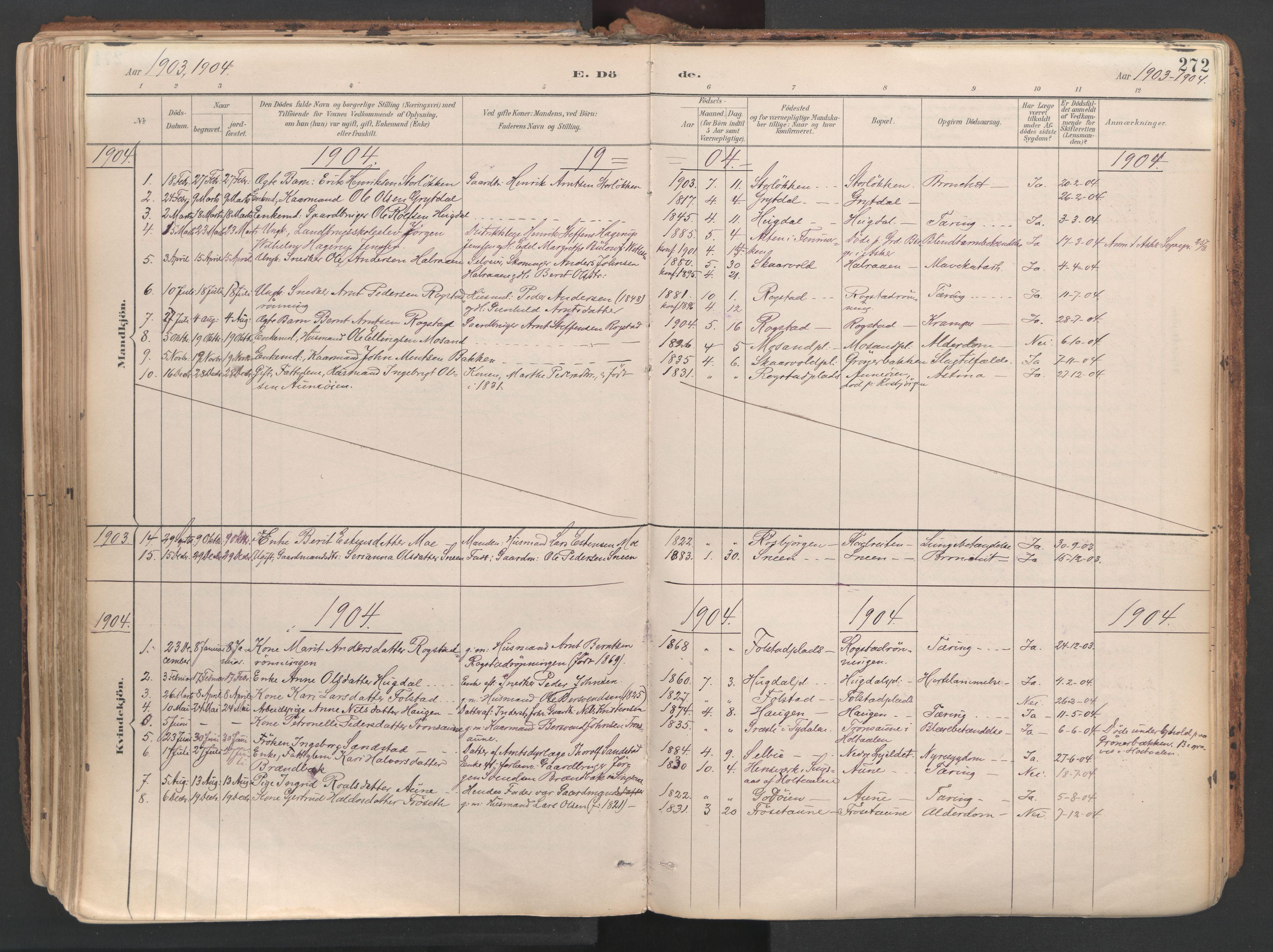 SAT, Ministerialprotokoller, klokkerbøker og fødselsregistre - Sør-Trøndelag, 687/L1004: Ministerialbok nr. 687A10, 1891-1923, s. 272