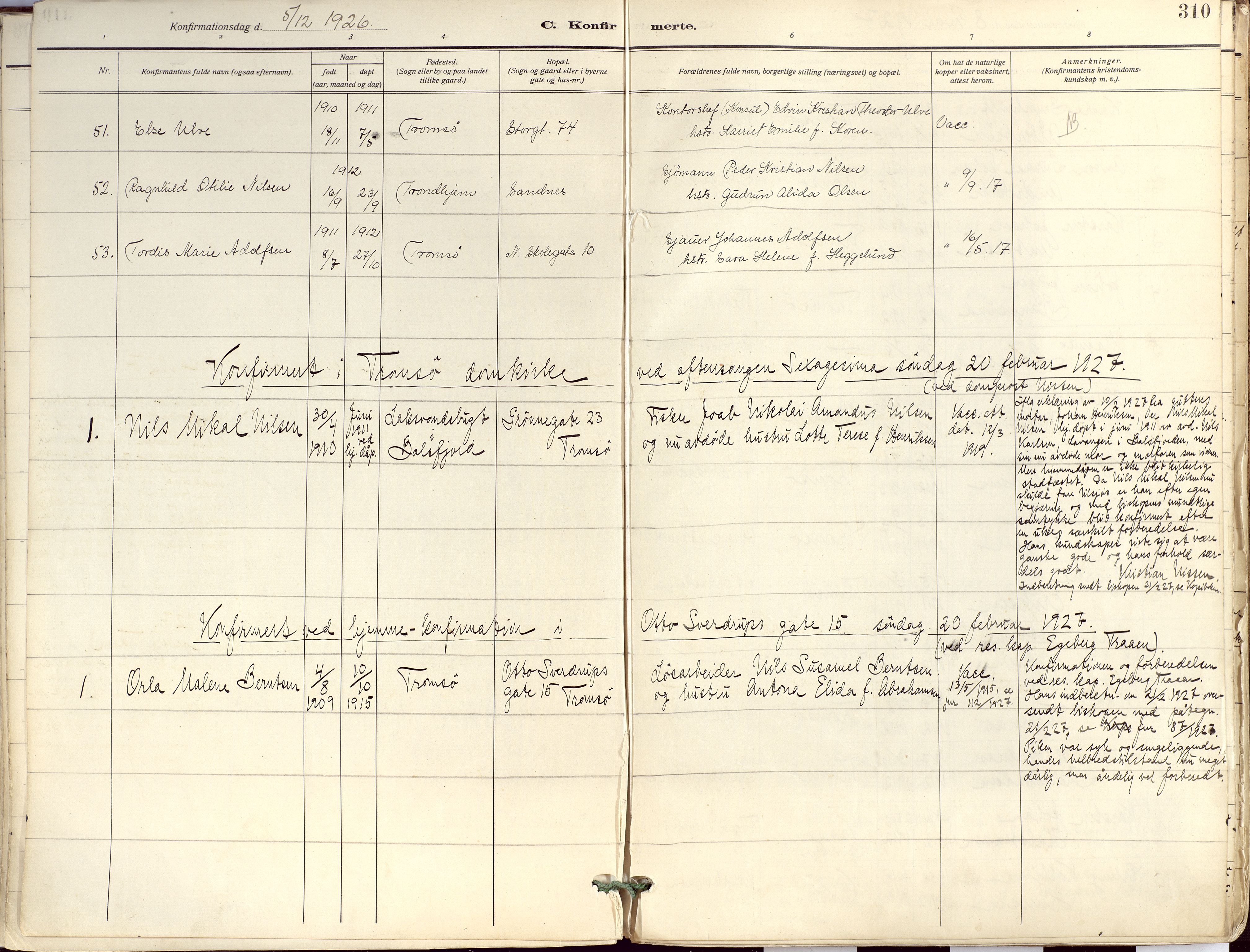 SATØ, Tromsø sokneprestkontor/stiftsprosti/domprosti, G/Ga/L0019kirke: Ministerialbok nr. 19, 1917-1927, s. 310