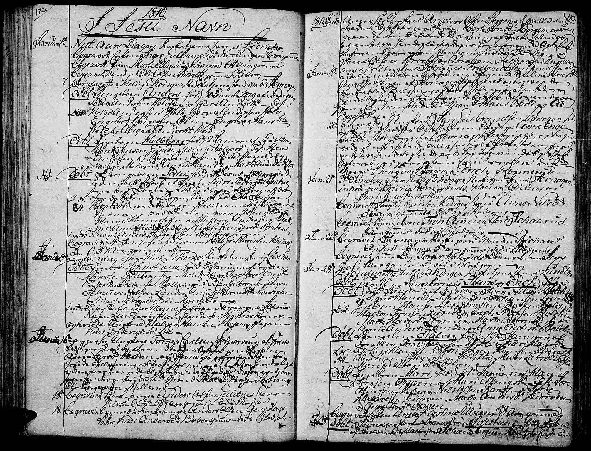 SAH, Jevnaker prestekontor, Ministerialbok nr. 4, 1800-1861, s. 172-173