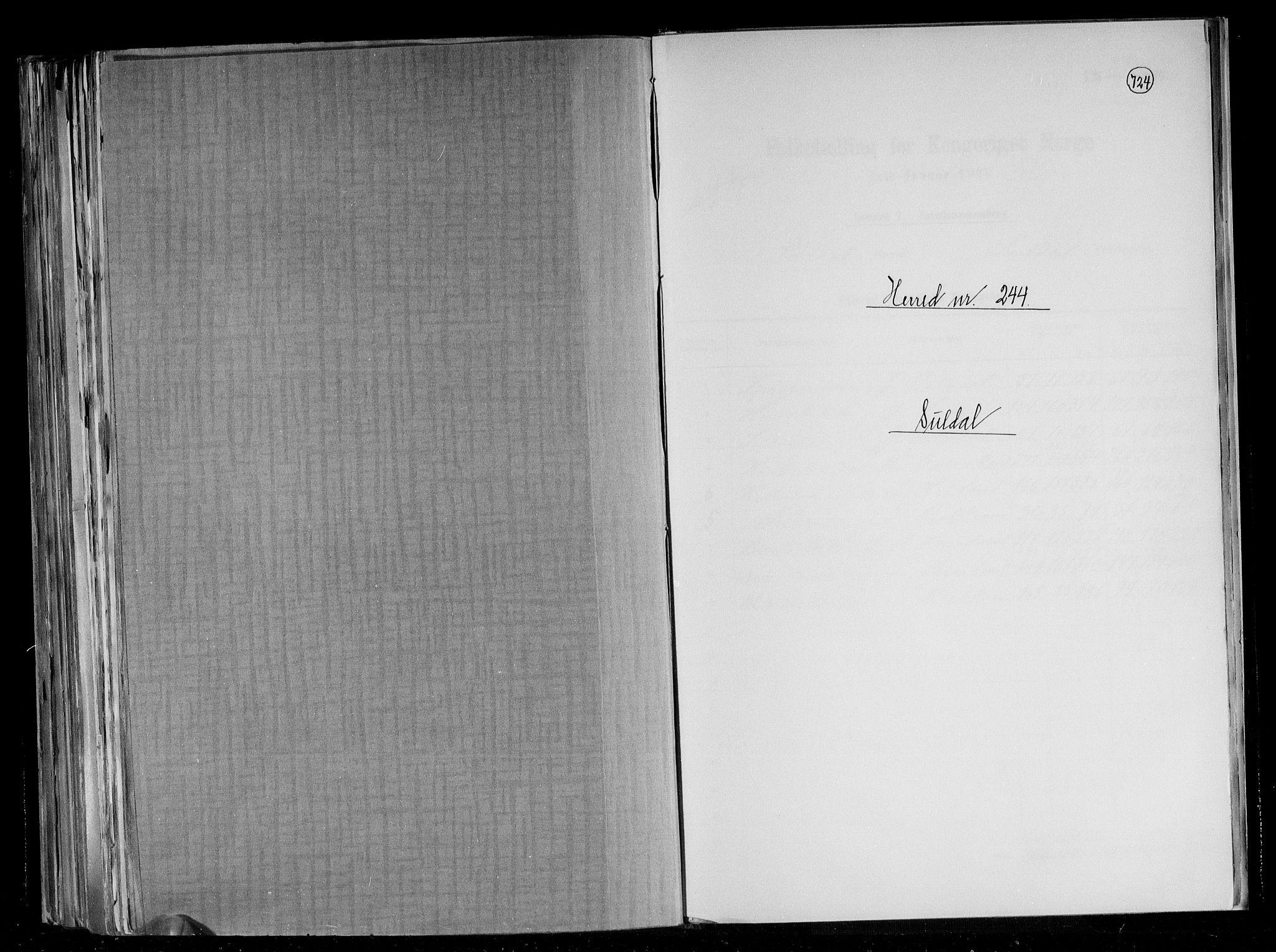 RA, Folketelling 1891 for 1134 Suldal herred, 1891, s. 1
