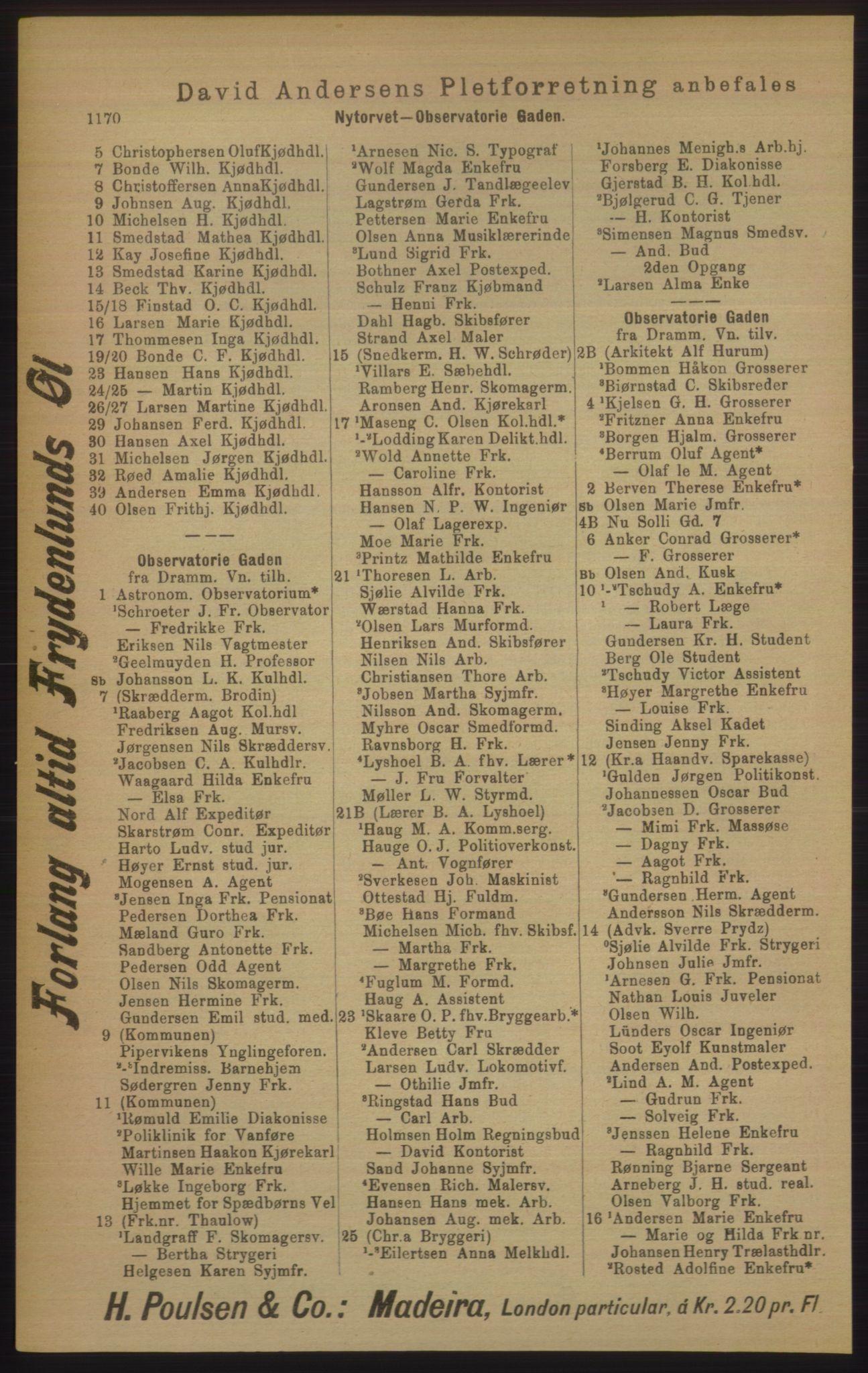 RA, Kristiania adressebok (publikasjon)*, 1906, s. 1170