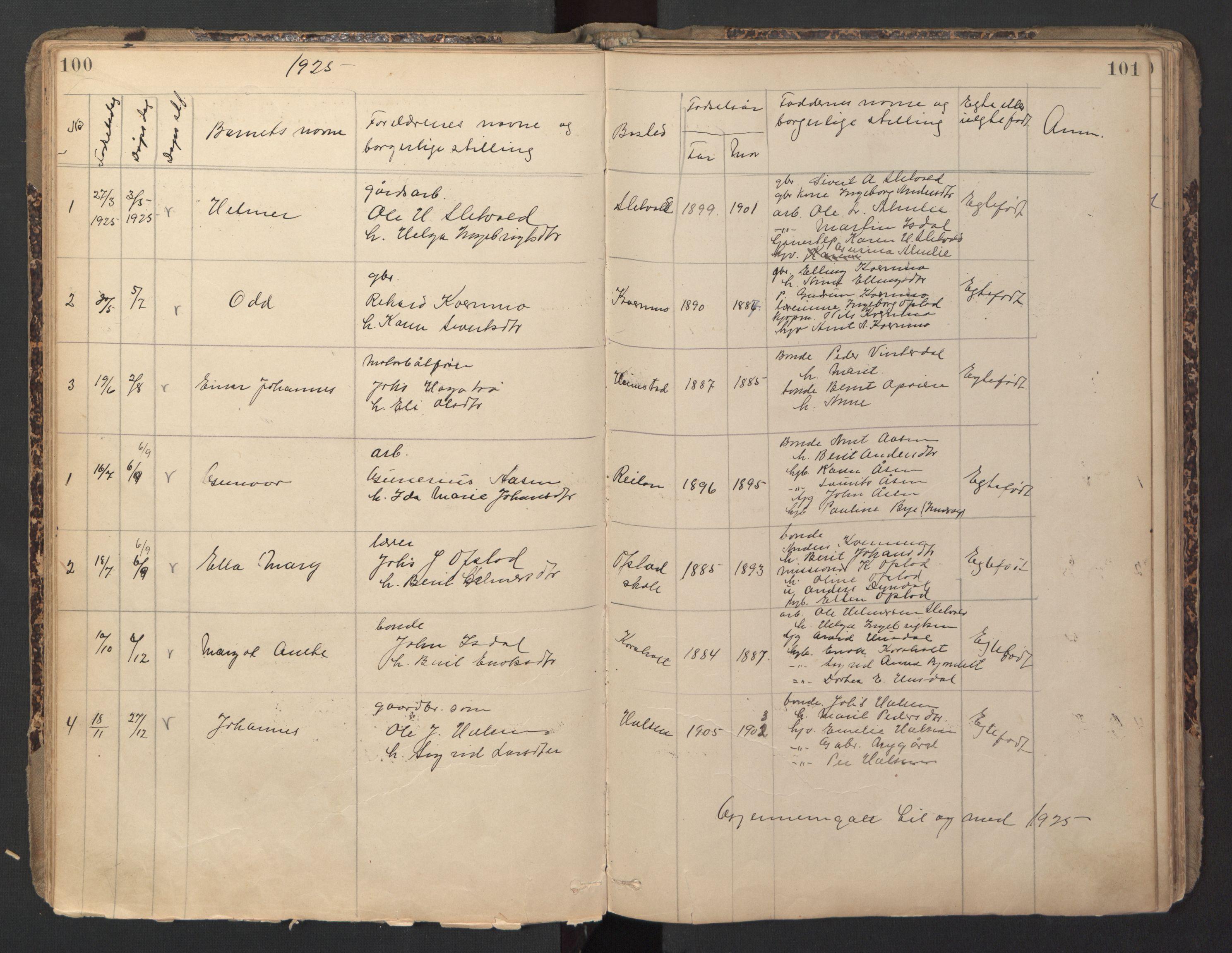 SAT, Ministerialprotokoller, klokkerbøker og fødselsregistre - Sør-Trøndelag, 670/L0837: Klokkerbok nr. 670C01, 1905-1946, s. 100-101