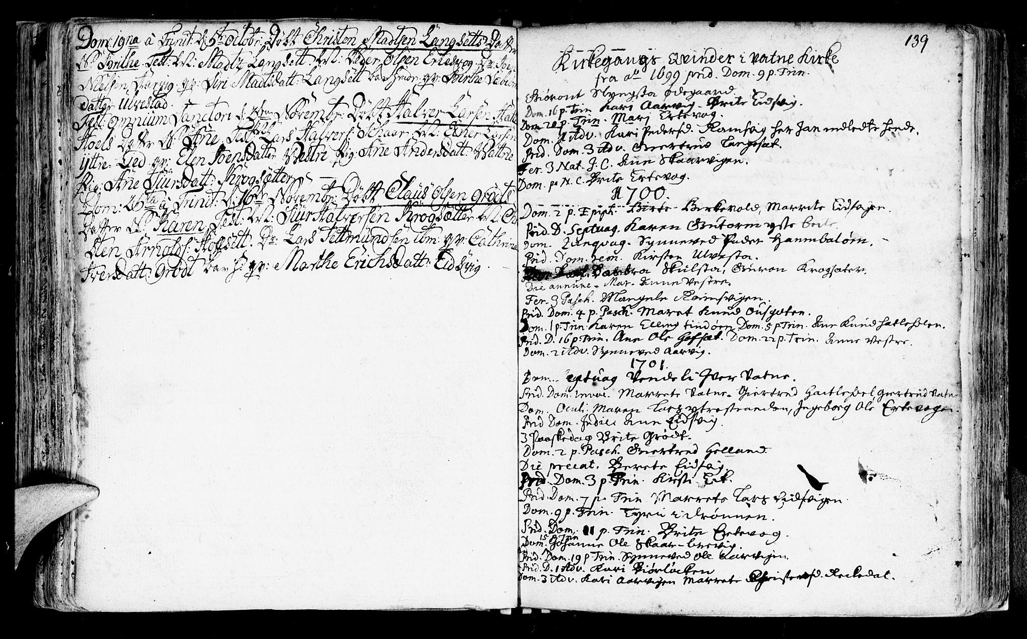 SAT, Ministerialprotokoller, klokkerbøker og fødselsregistre - Møre og Romsdal, 525/L0371: Ministerialbok nr. 525A01, 1699-1777, s. 139