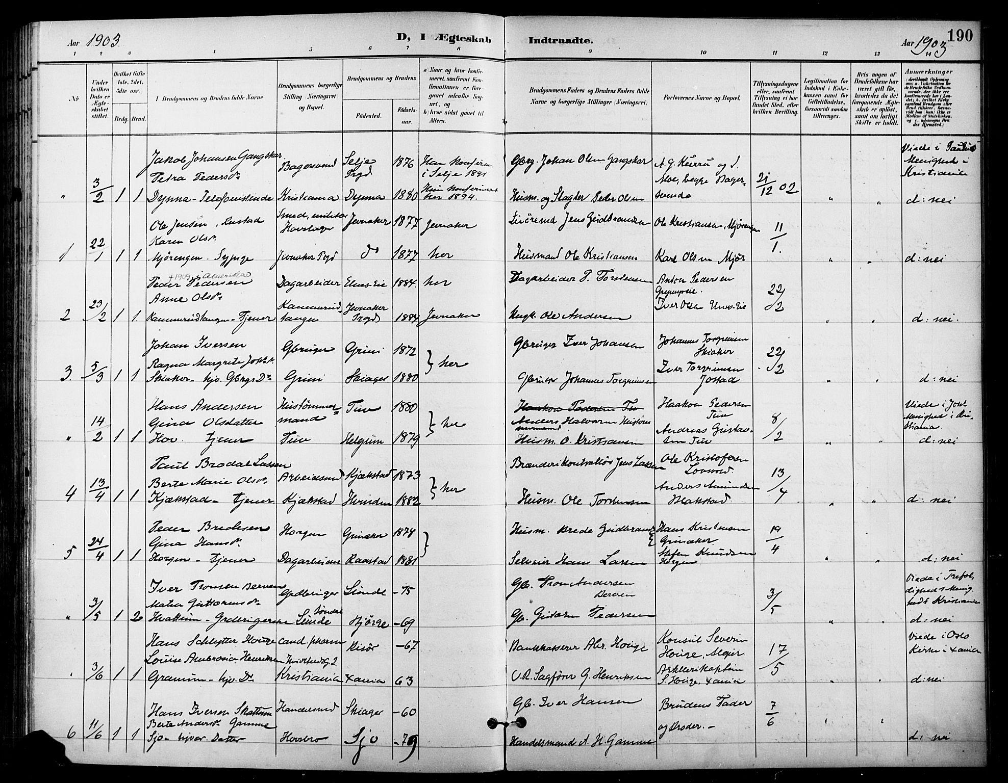 SAH, Gran prestekontor, Ministerialbok nr. 19, 1898-1907, s. 190
