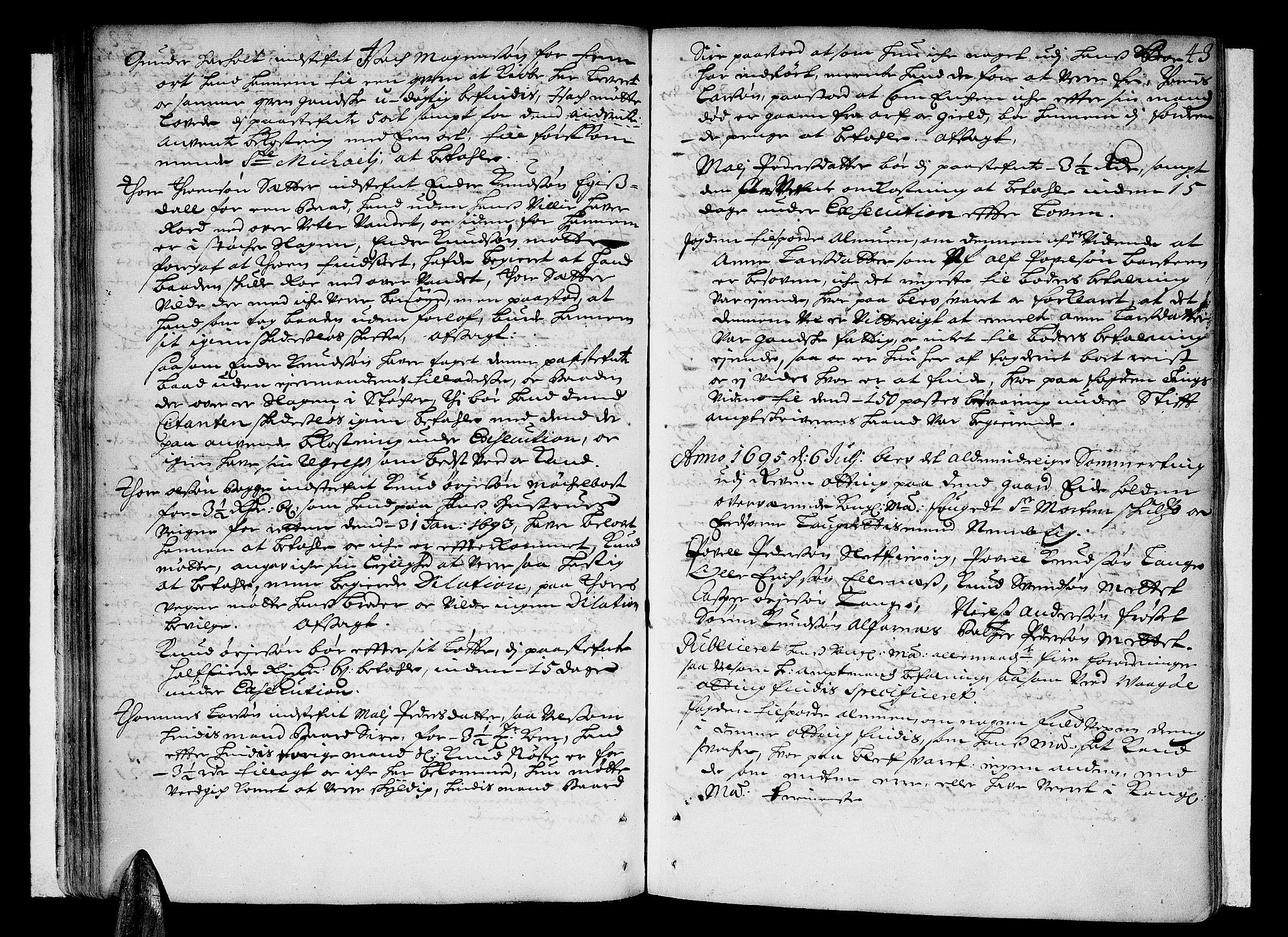 SAT, Romsdal sorenskriveri, 1/1A/L0003: Tingbok, 1694-1699, s. 42b-43a