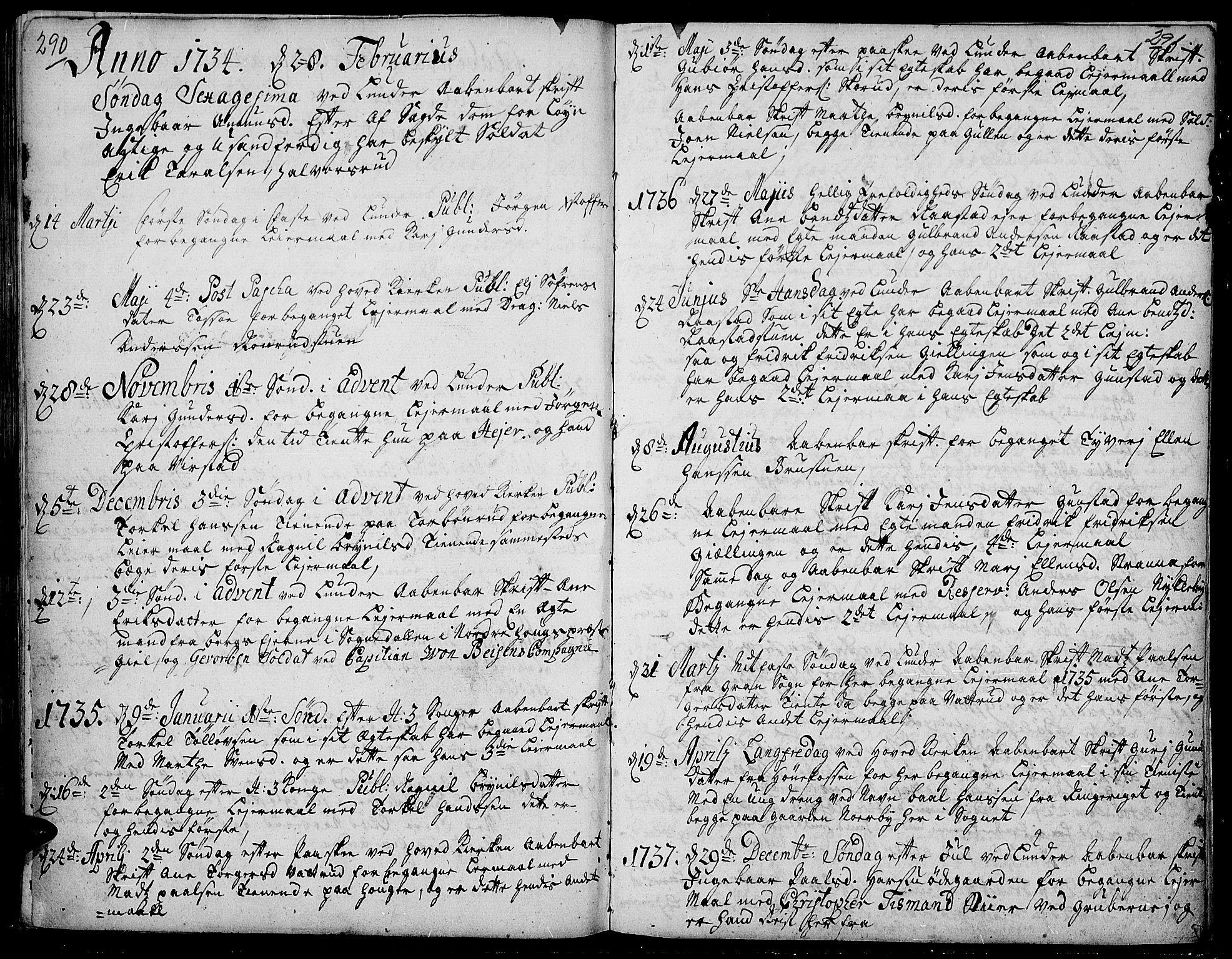 SAH, Jevnaker prestekontor, Ministerialbok nr. 2, 1725-1751, s. 290-291
