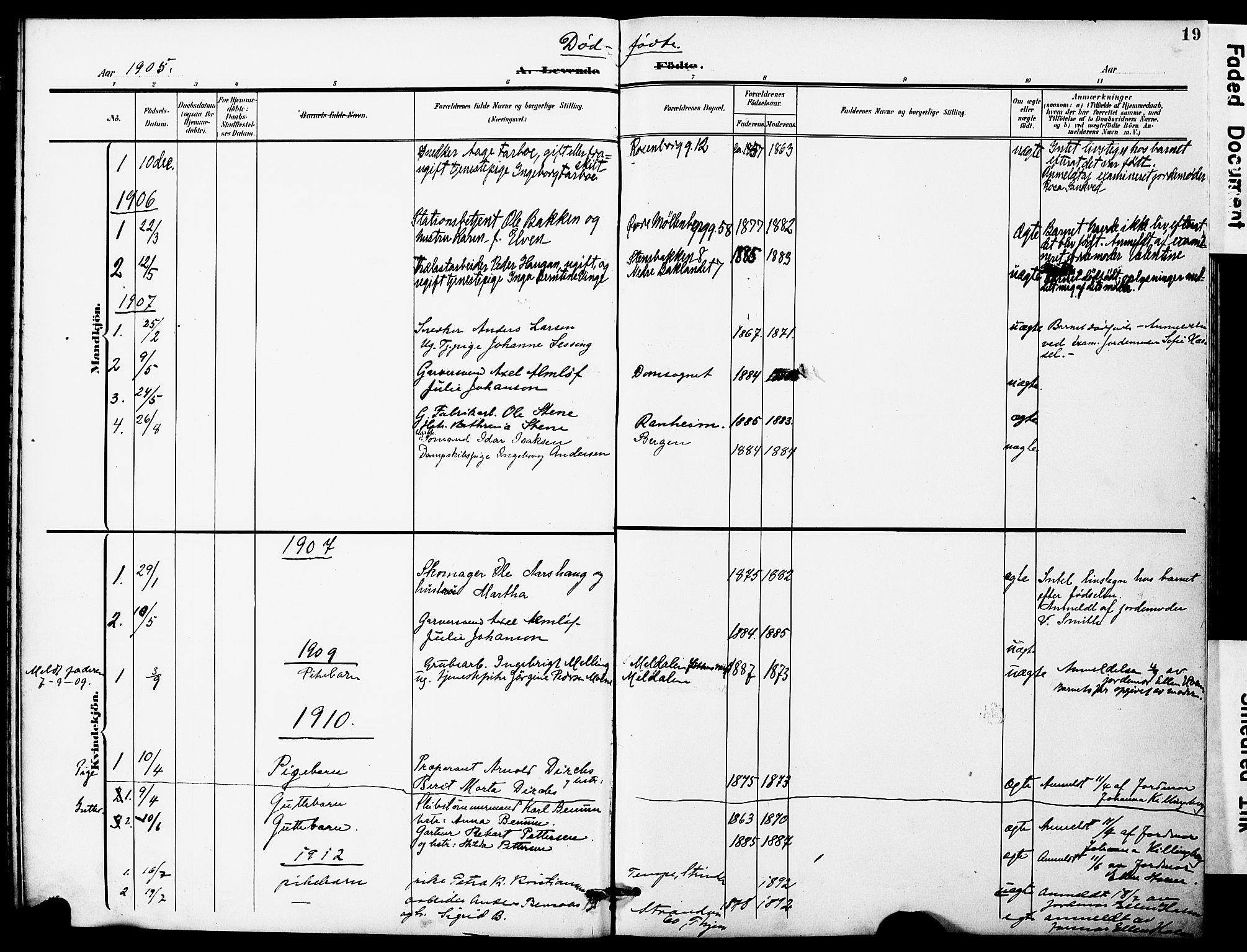 SAT, Ministerialprotokoller, klokkerbøker og fødselsregistre - Sør-Trøndelag, 628/L0483: Ministerialbok nr. 628A01, 1902-1920, s. 19