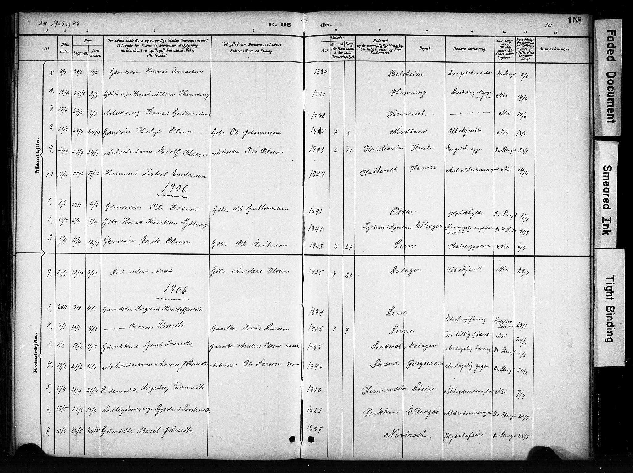 SAH, Vang prestekontor, Valdres, Klokkerbok nr. 6, 1893-1918, s. 158