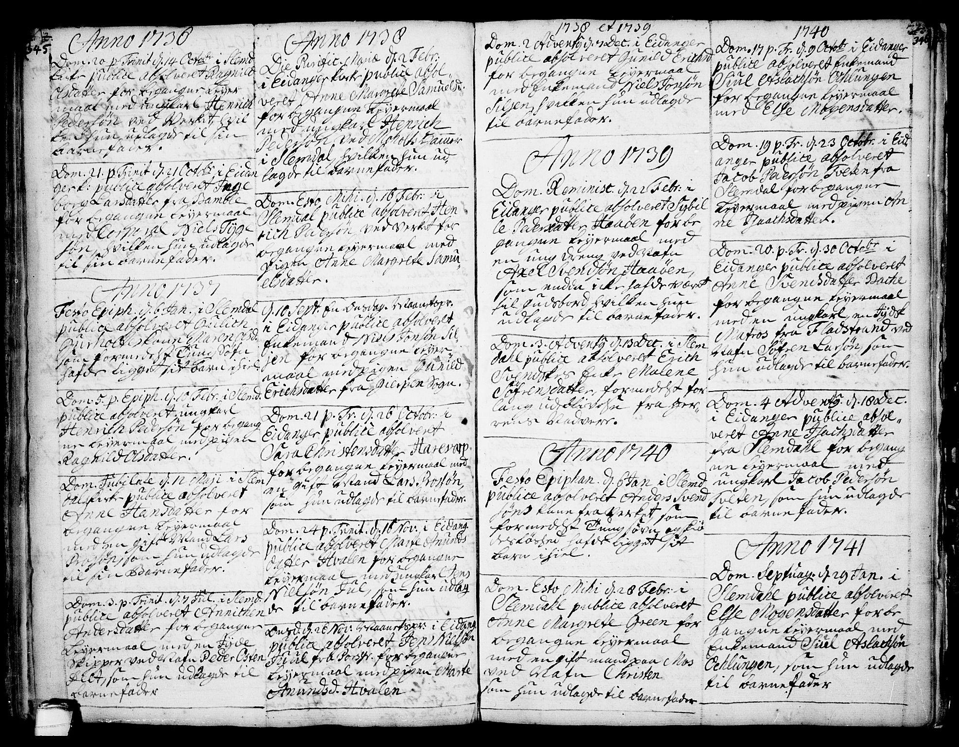 SAKO, Eidanger kirkebøker, F/Fa/L0004: Ministerialbok nr. 4, 1733-1759, s. 345-346