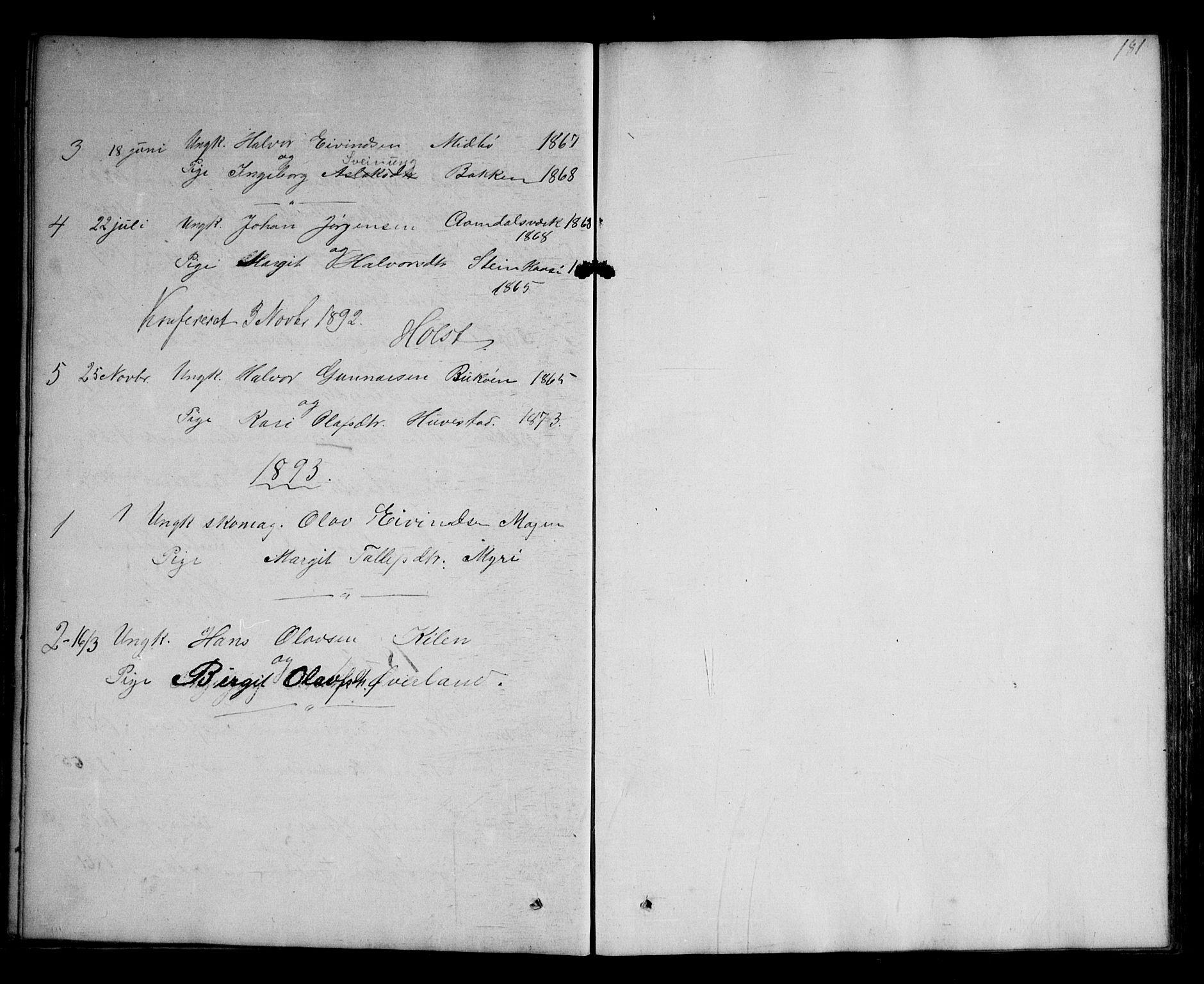 SAKO, Kviteseid kirkebøker, G/Ga/L0001: Klokkerbok nr. I 1, 1850-1893, s. 181