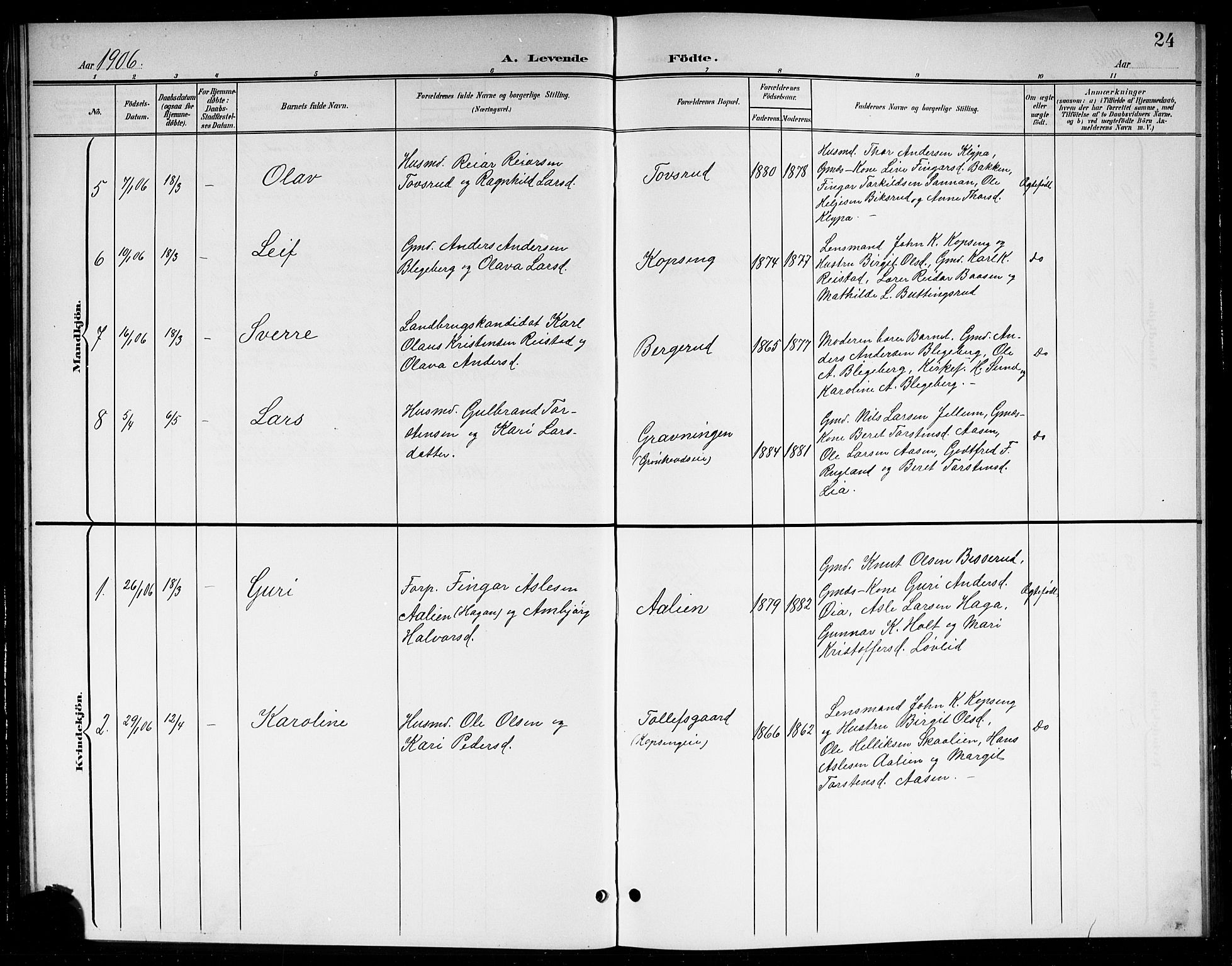 SAKO, Sigdal kirkebøker, G/Gb/L0003: Klokkerbok nr. II 3, 1901-1916, s. 24
