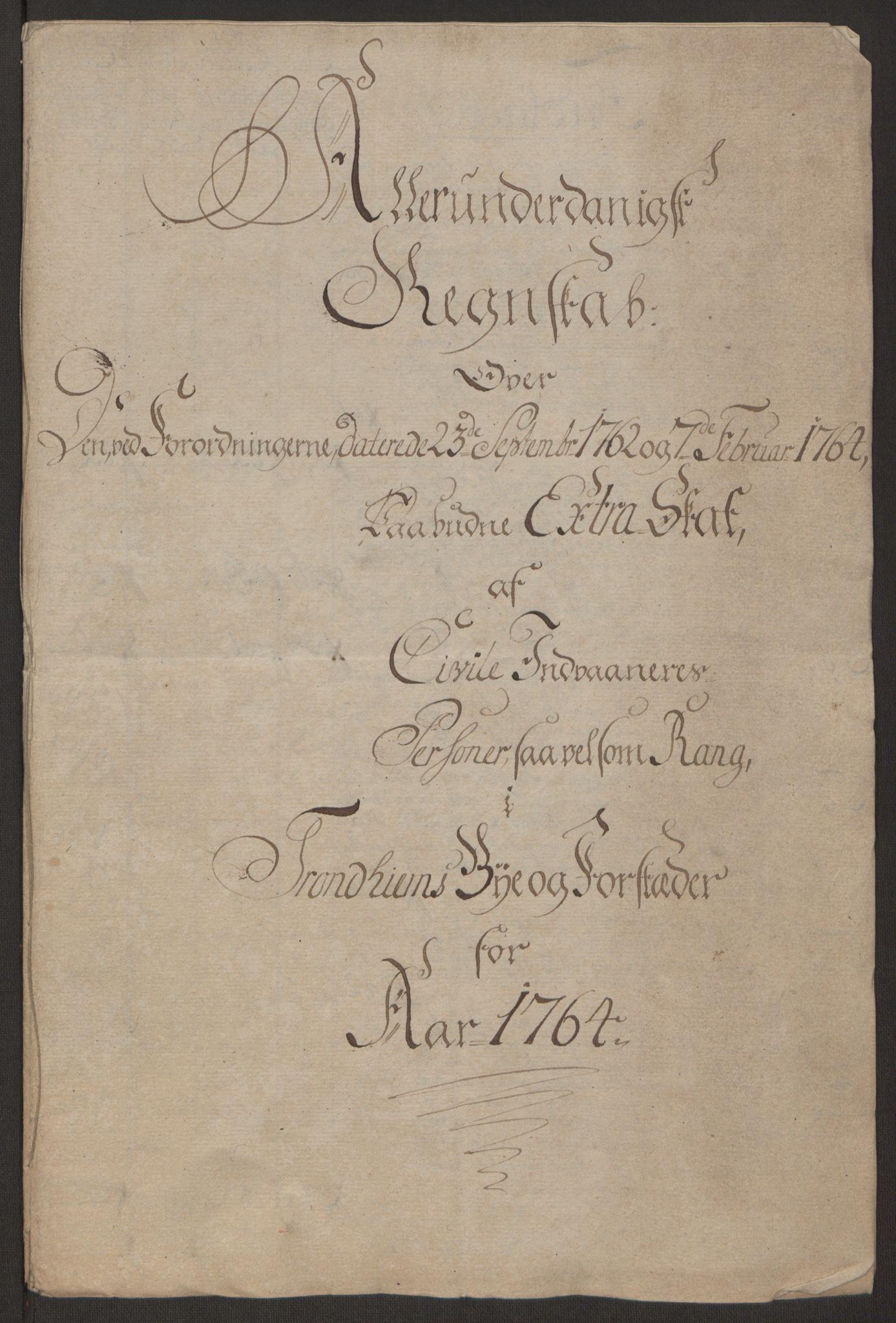 RA, Rentekammeret inntil 1814, Reviderte regnskaper, Byregnskaper, R/Rs/L0516: [S9] Kontribusjonsregnskap, 1762-1767, s. 175